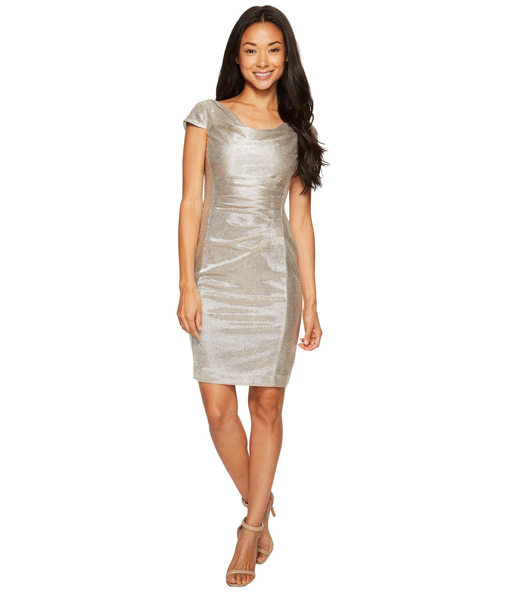 33ef450ff69 Lyst - Tahari Petite Metallic Knit Dress in Metallic