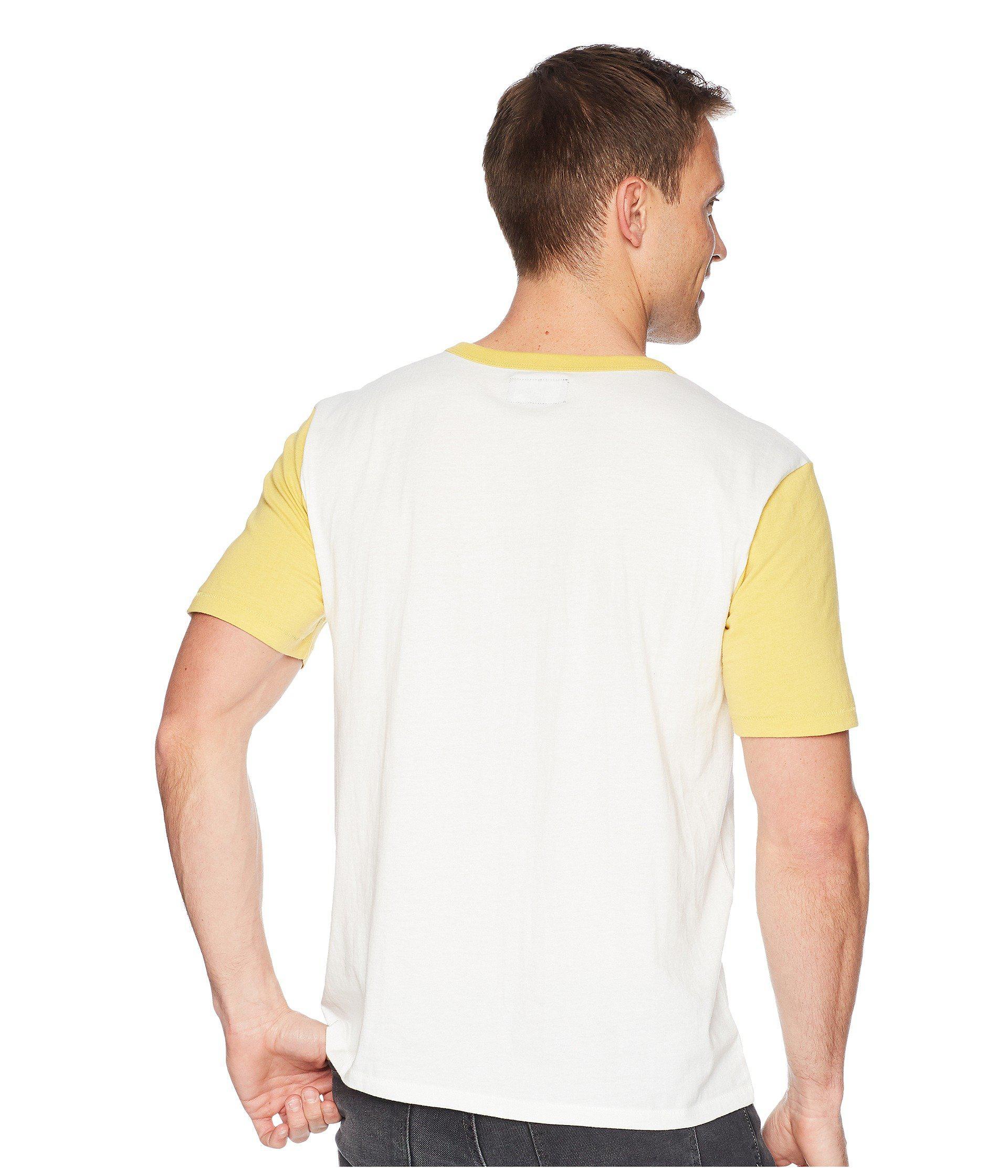 31210fd80b32 Brixton Stith Short Sleeve Henley in Yellow for Men - Lyst