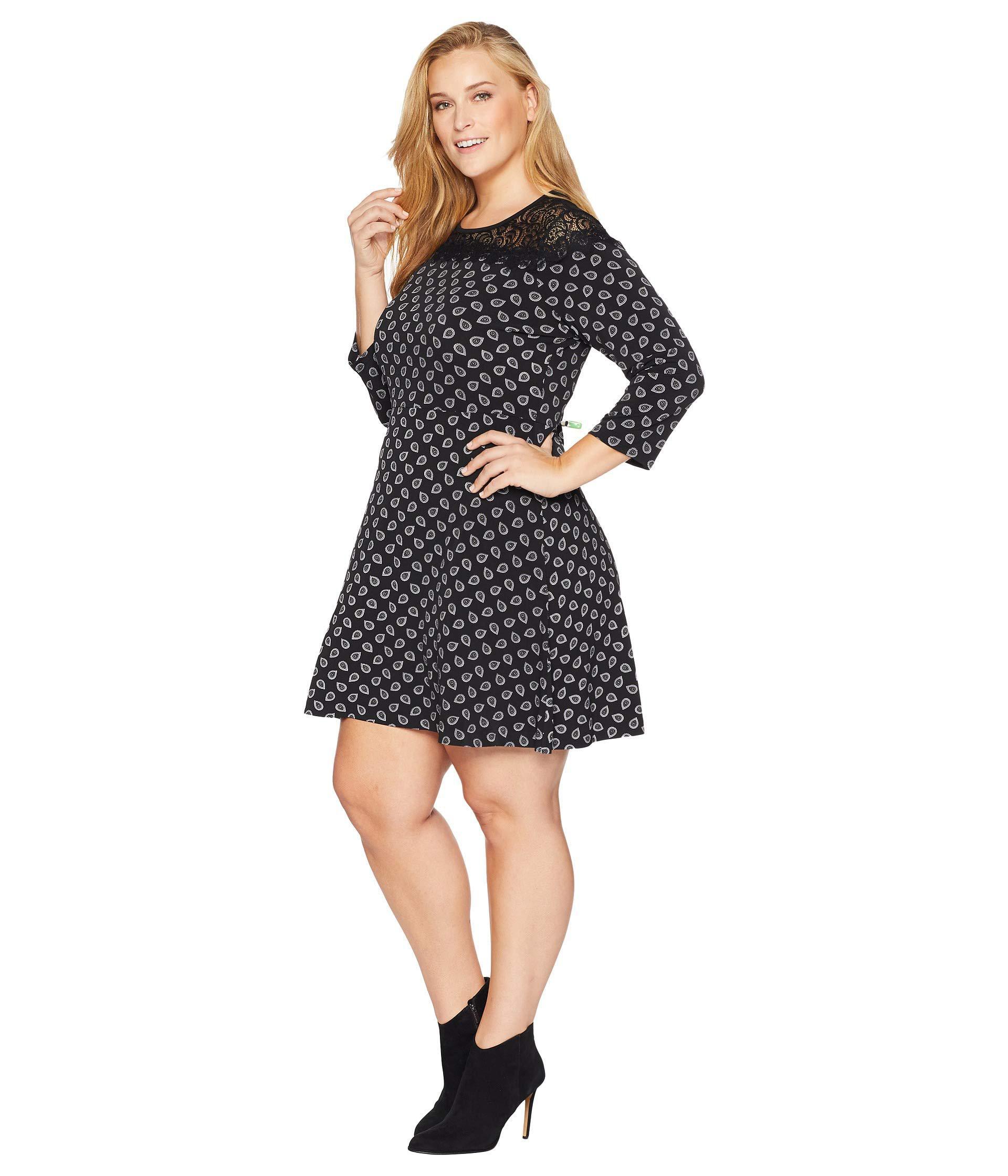 0b12e673c7ac0 Lyst - MICHAEL Michael Kors Plus Size Foulard Print Lace Dress in Black -  Save 36%