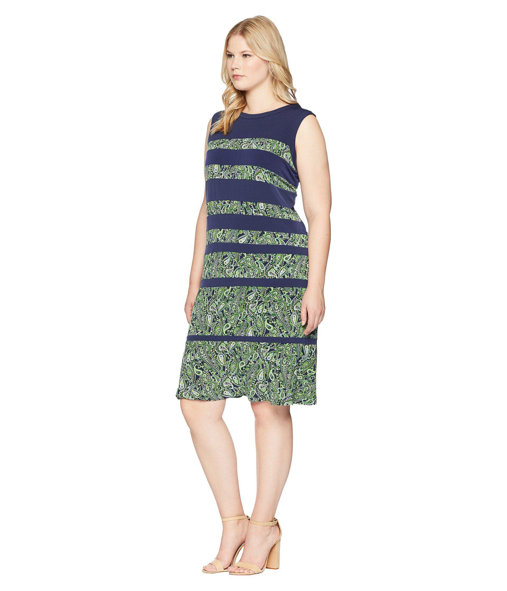 46ec0c7dc7f3a Lyst - MICHAEL Michael Kors Plus Size Paisley Paneled Sleeveless Dress in  Green - Save 43%
