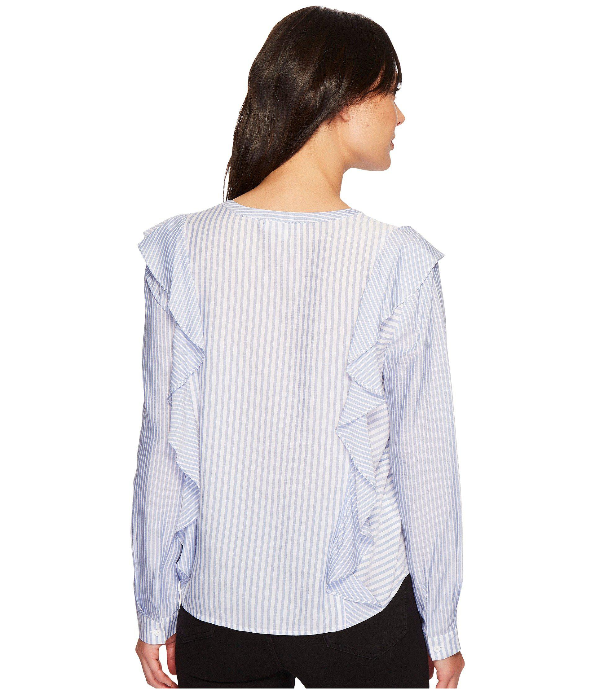 e16f5b8054e Two By Vince Camuto - Multicolor Long Sleeve Mix Stripe Ruffle Front V-neck  Shirt. View fullscreen