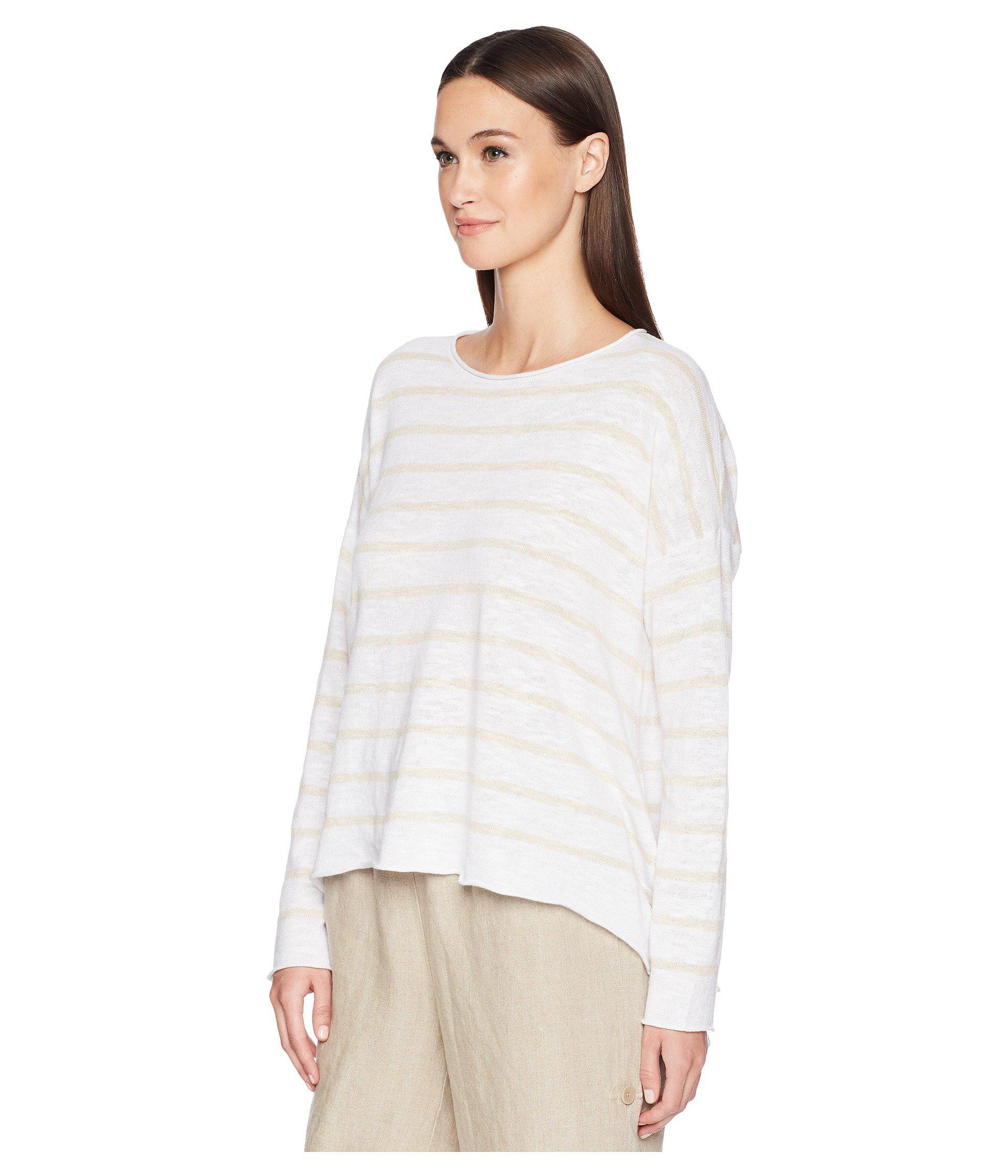 18b761fa591 Lyst - Eileen Fisher Stripe Organic Linen And Cotton Sweater in White -  Save 48%