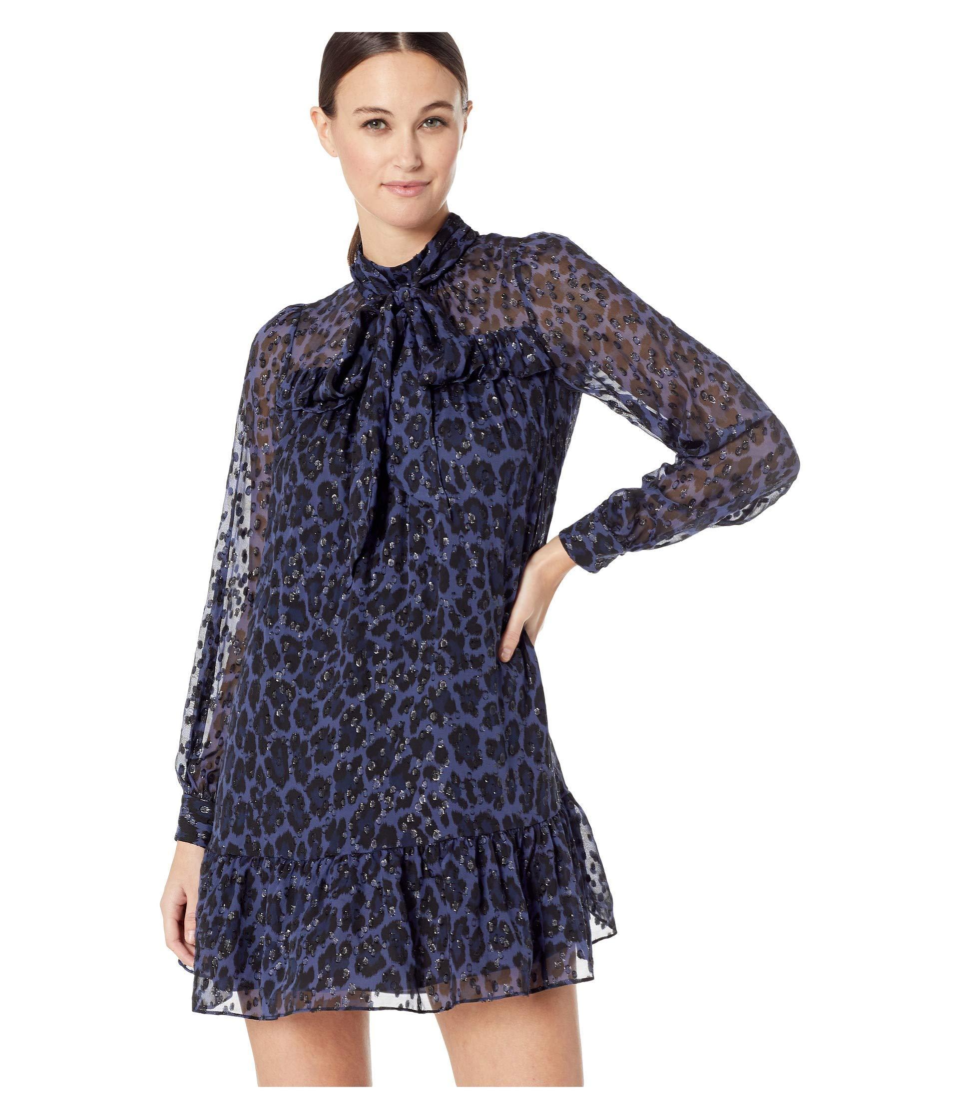 fcc70060c08d Kate Spade Wild Ones Leopard Clip Dot Mini Dress in Blue - Lyst