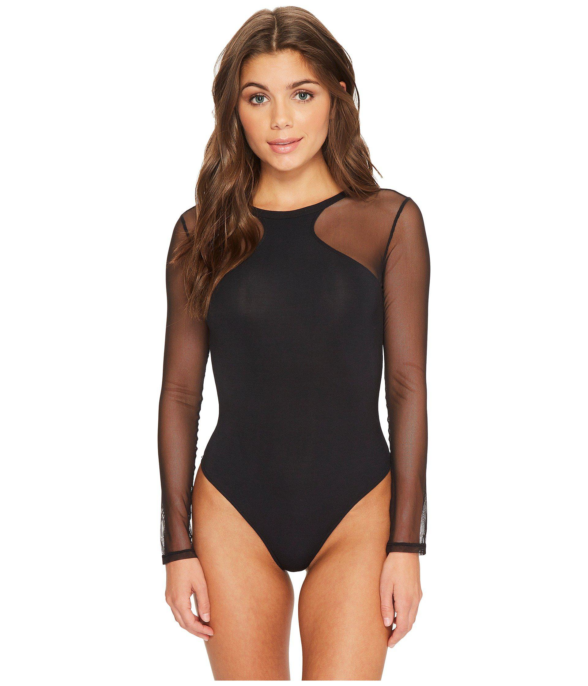 Lyst - Felina Kirsten Modal Bodysuit With Stretch Tulle Thong Back ... 51481dbe6