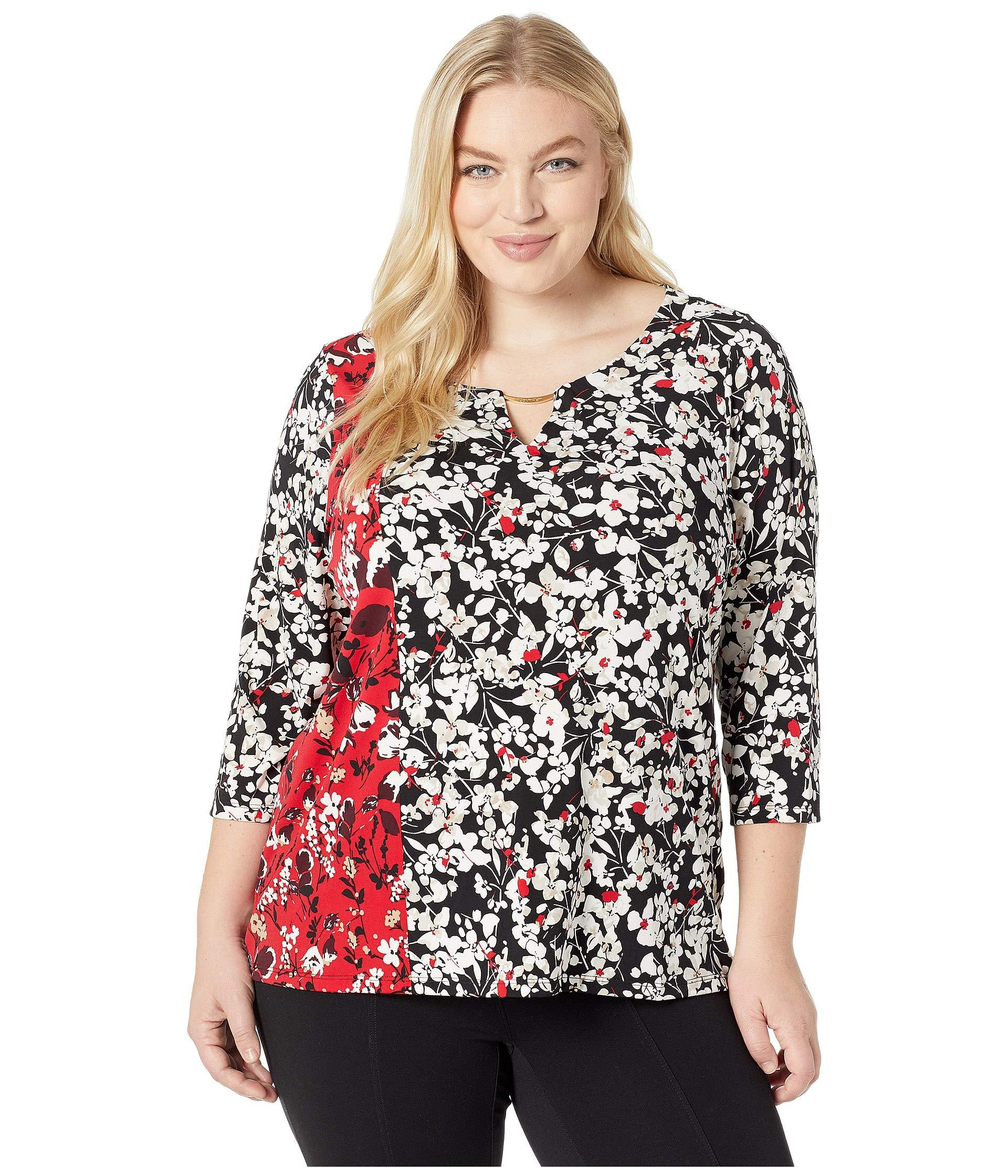 3922f130936ee9 Lyst - Calvin Klein Plus Size Printed 3/4 Sleeve With Hardware - Save 3%
