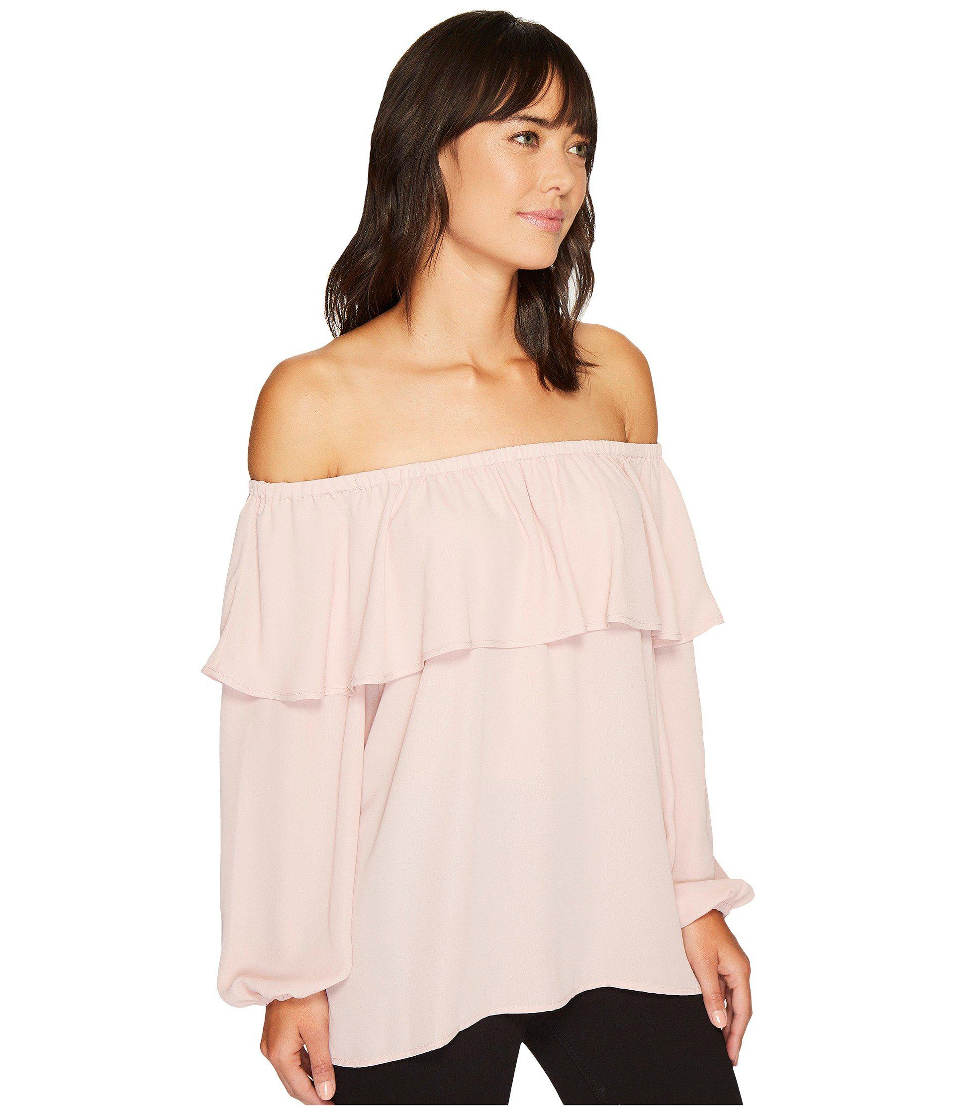 3994f6f44026 Vince Camuto Long Sleeve Ruffled Off Shoulder Blouse in Pink - Lyst