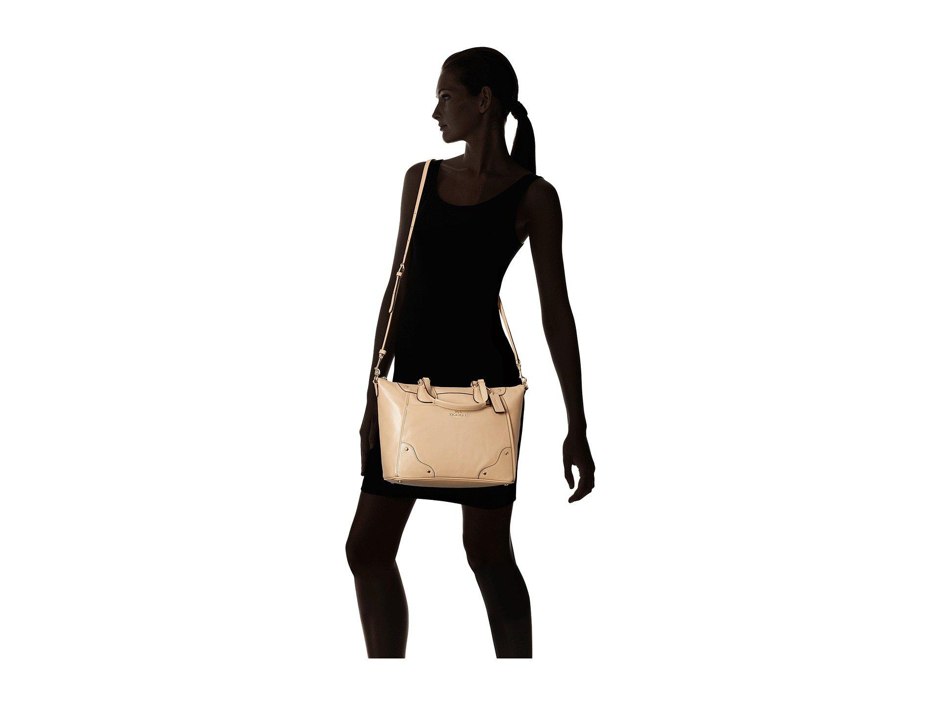 bd01d63e3 COACH Grain Leather Mickie Satchel in Natural - Lyst