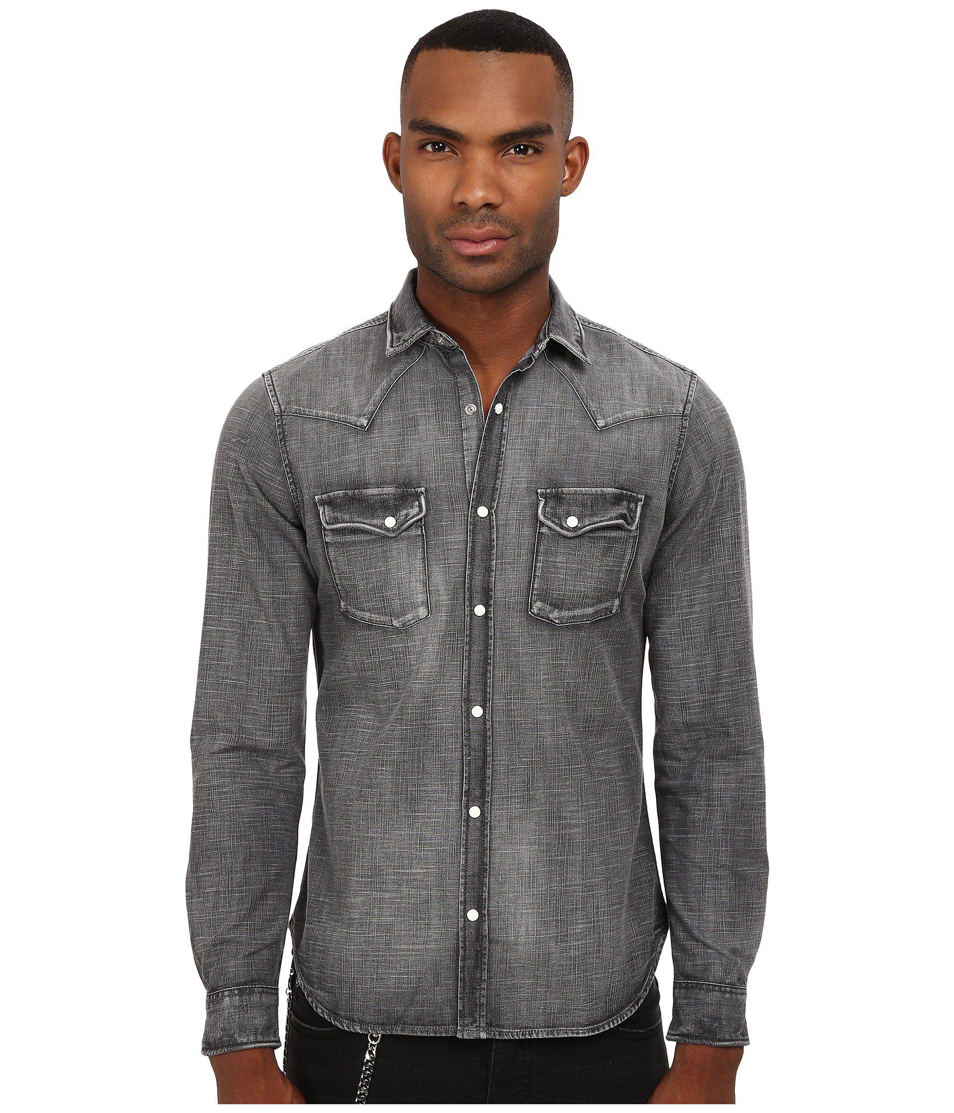 f1bea4a676f Lyst - The Kooples Washed Black Denim Shirt in Blue for Men
