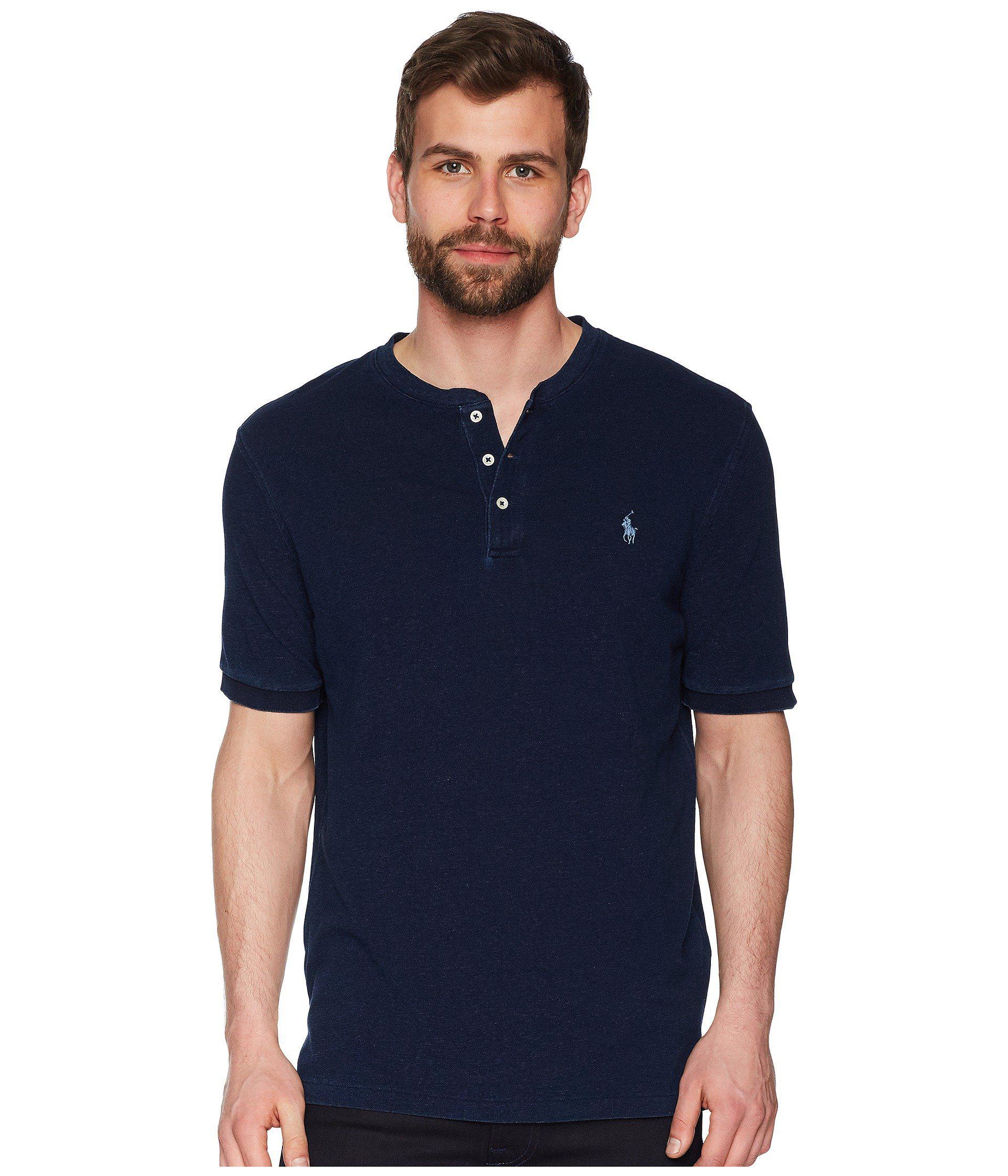 Polo Ralph Lauren. Men s Blue Featherweight Mesh Short Sleeve Knit Henley 23c2db7506ec