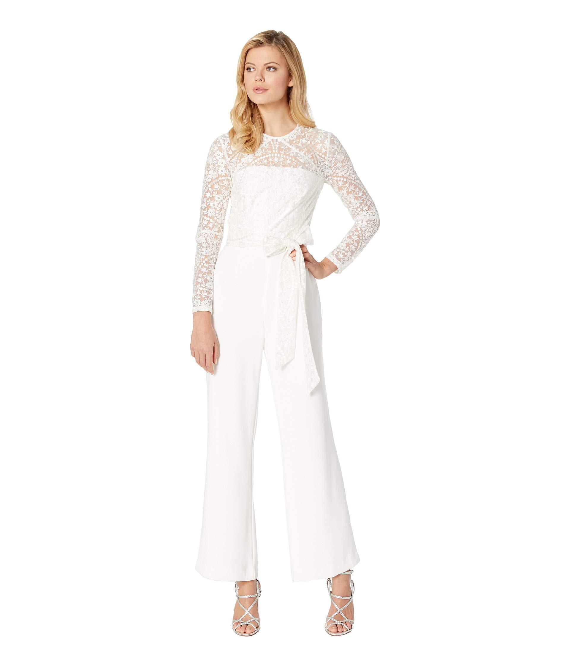 6556e4b6d4aa Lyst - Tahari Long Sleeve Lace   Crepe Jumpsuit in White - Save 11%