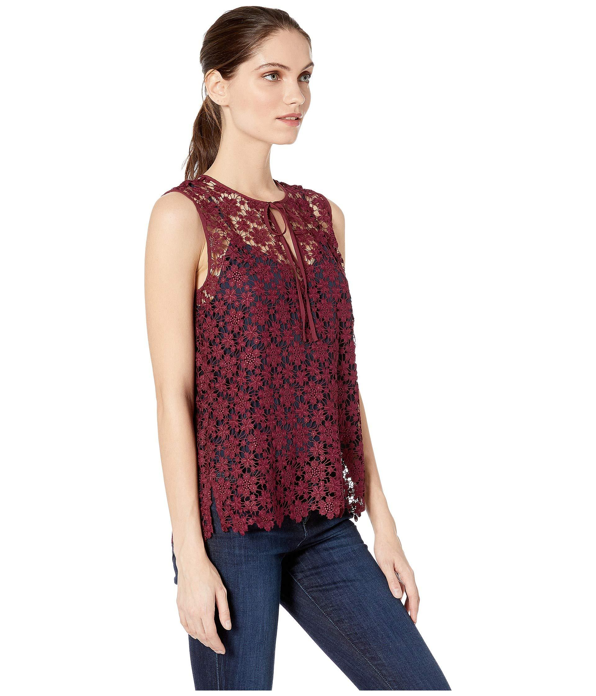 d51e00d420847 Juicy Couture - Red Lydia Guipure Lace Sleeveless Top - Lyst. View  fullscreen