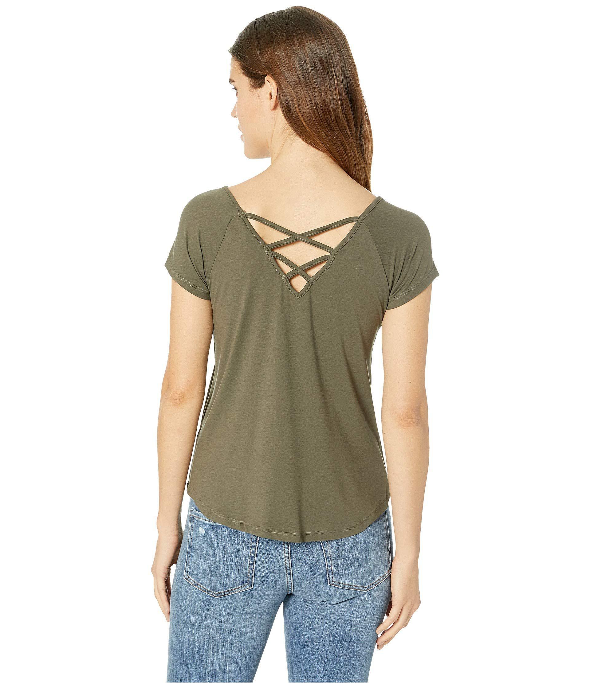 e10b4bcf4e8 Pink Rose - Green Raglan Short Sleeve Shirttail Top W  Back Double  Crisscross - Lyst. View fullscreen