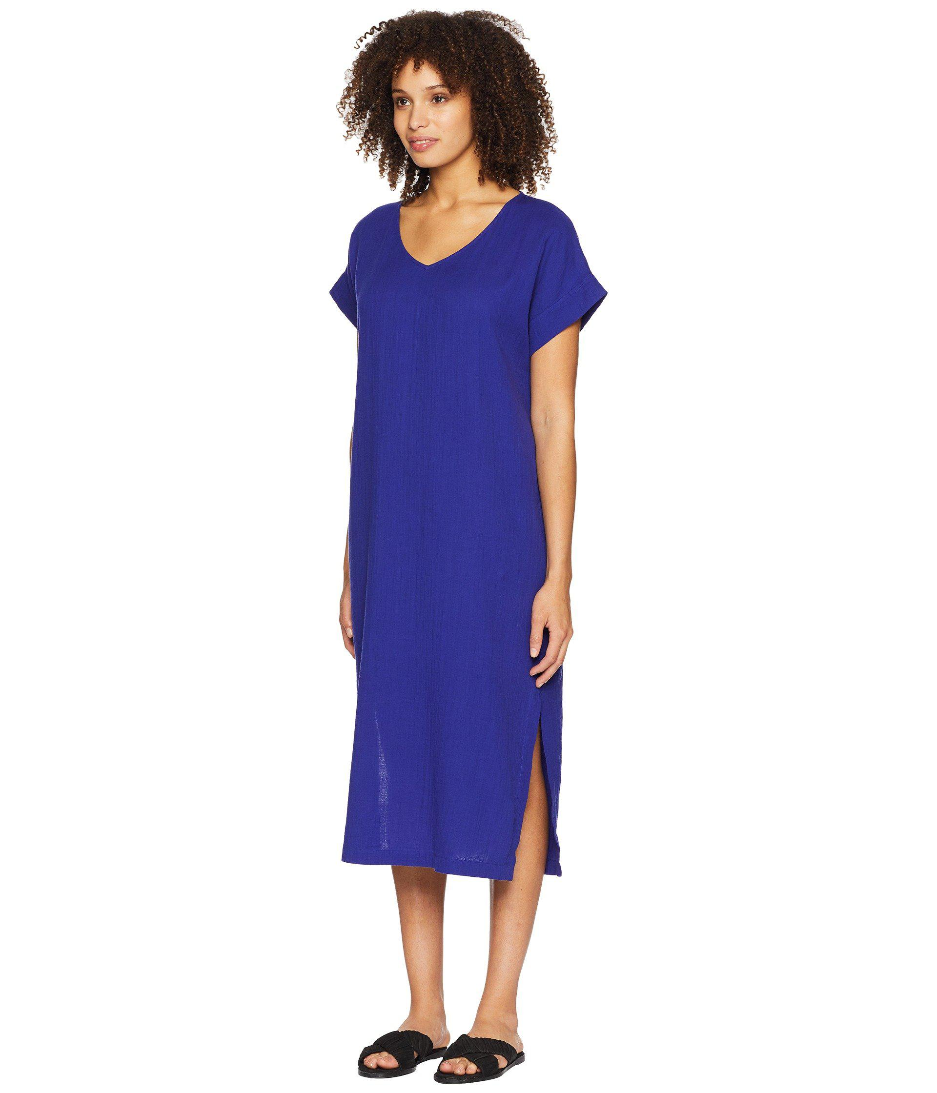 519f53274b78e Lyst - Eileen Fisher V-neck Cotton Gauze Dress in Blue - Save 33%