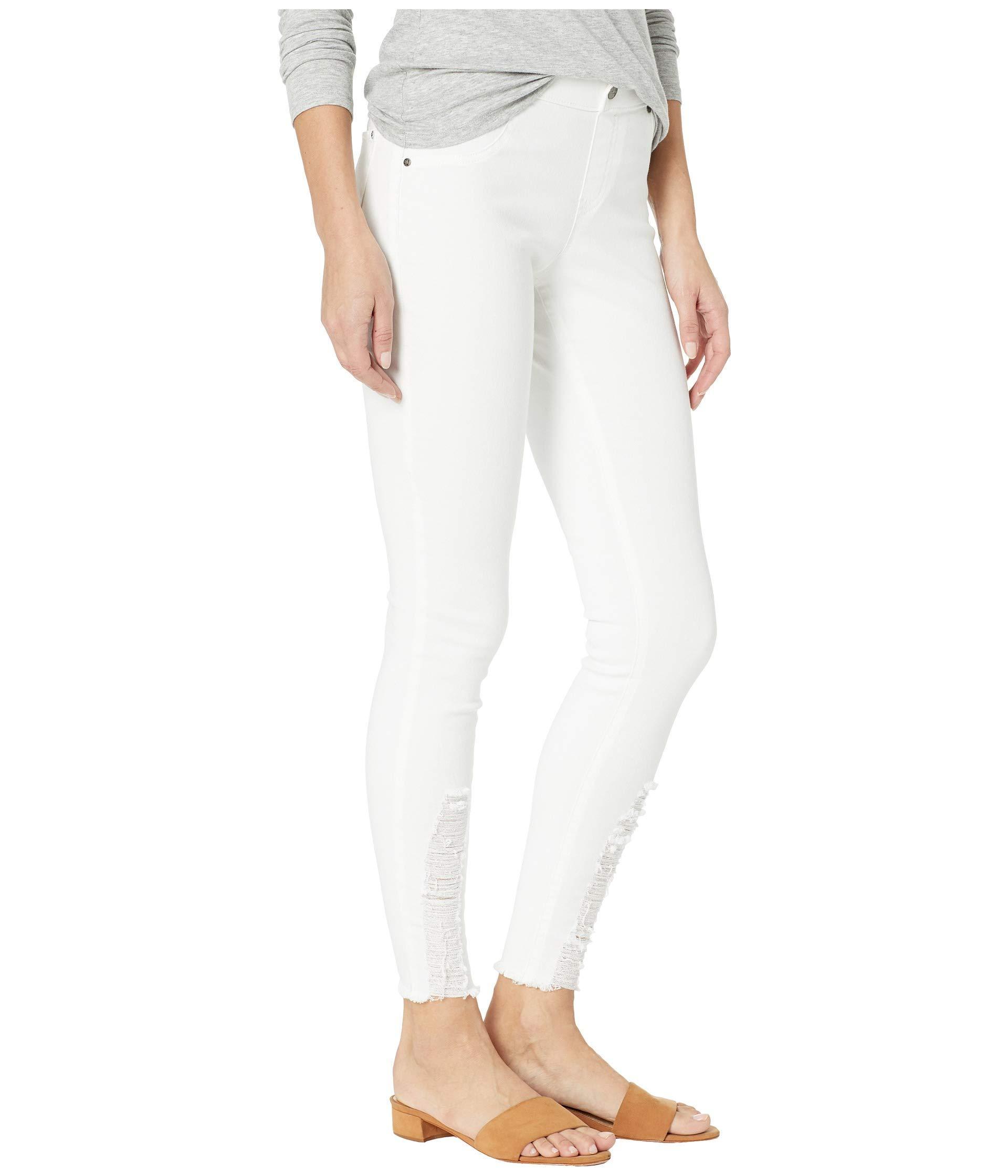 HUE Ankle Slit Crop Denim Leggings White NWT $40