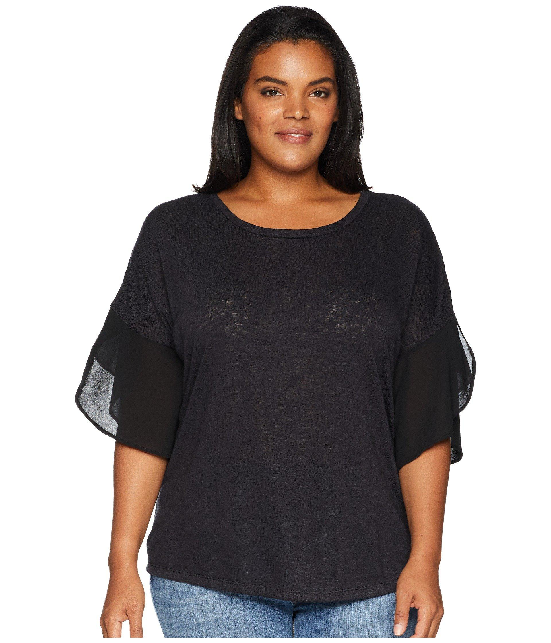 055c607c057919 B Collection By Bobeau. Women s Black Plus Size Hadley Woven Sleeve Slub Top