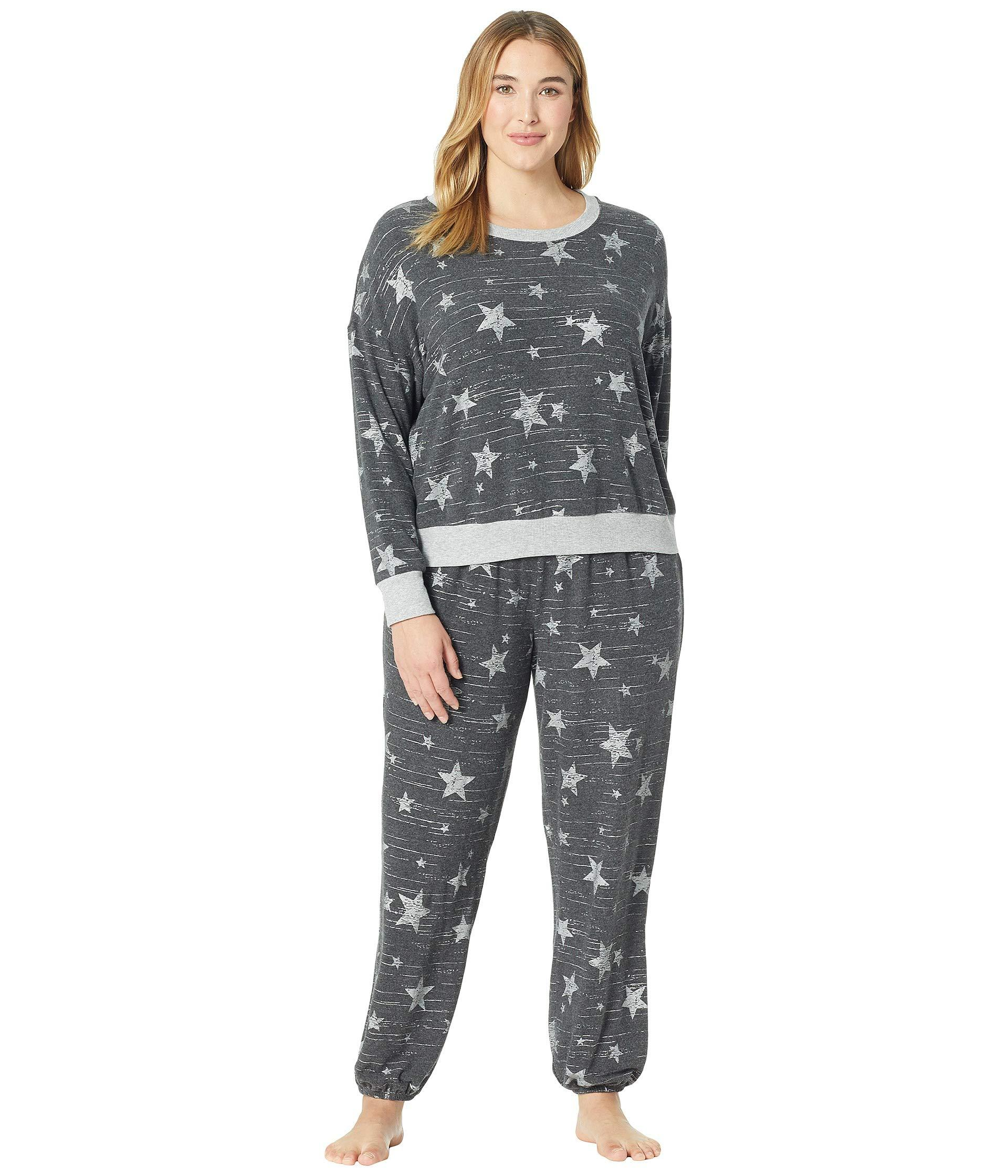 b44aff034 Splendid Plus Size Brushed Jersey Long Sleeve Pj Set in Gray - Lyst