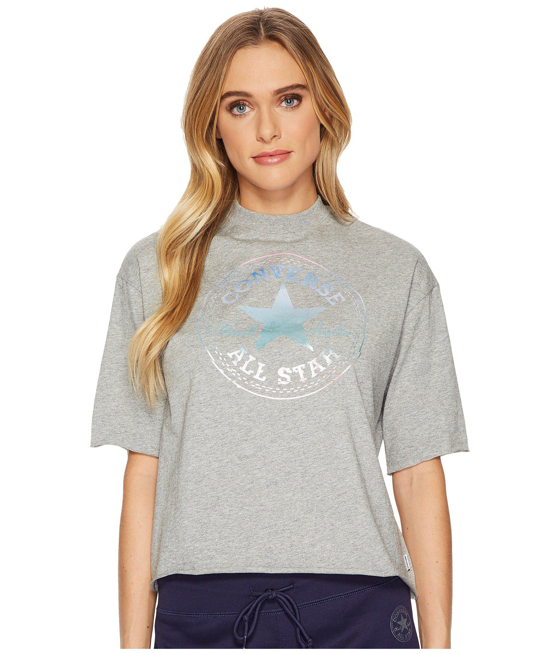 4cea06177cf2 Lyst - Converse Shine Pack Foil Cp Mock Neck T-shirt in Gray