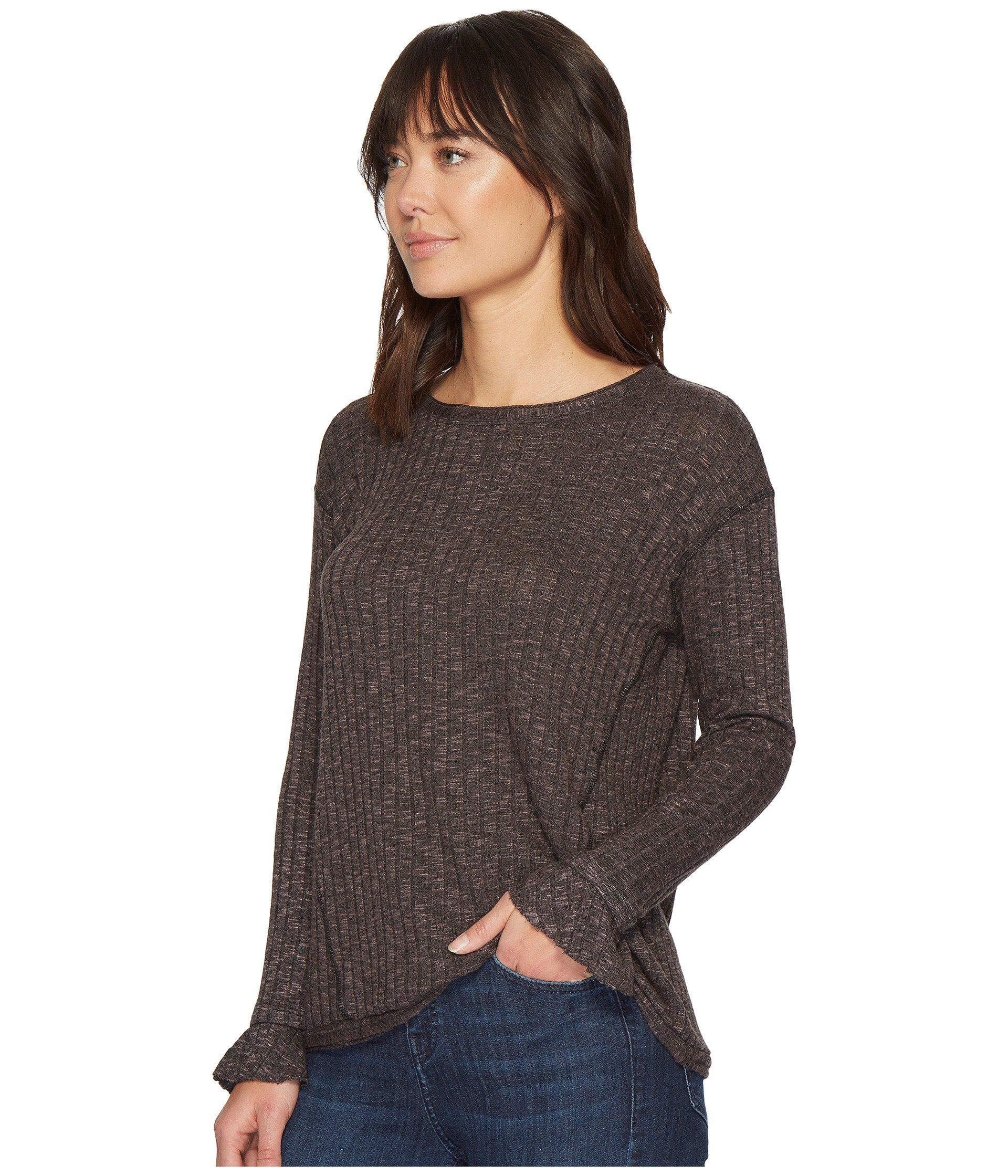 68dbe02a209d93 Lyst - Michael Stars Jasper Poorboy Long Sleeve Crew Neck Top With Flounce  Cuff in Brown - Save 50%
