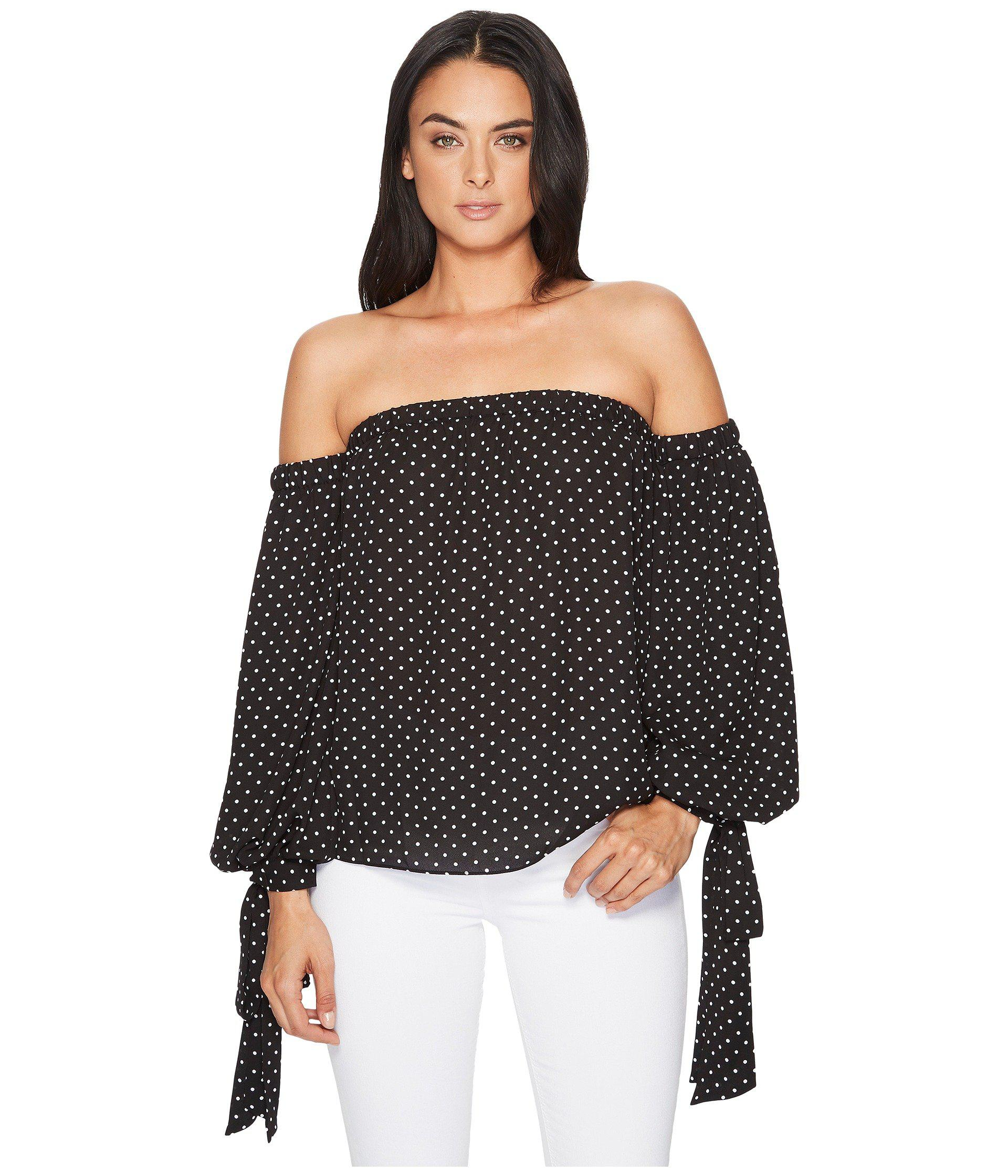 40ab0c7b9e99e Vince Camuto. Women s Black Poetic Dots Bubble Sleeve Off Shoulder Blouse
