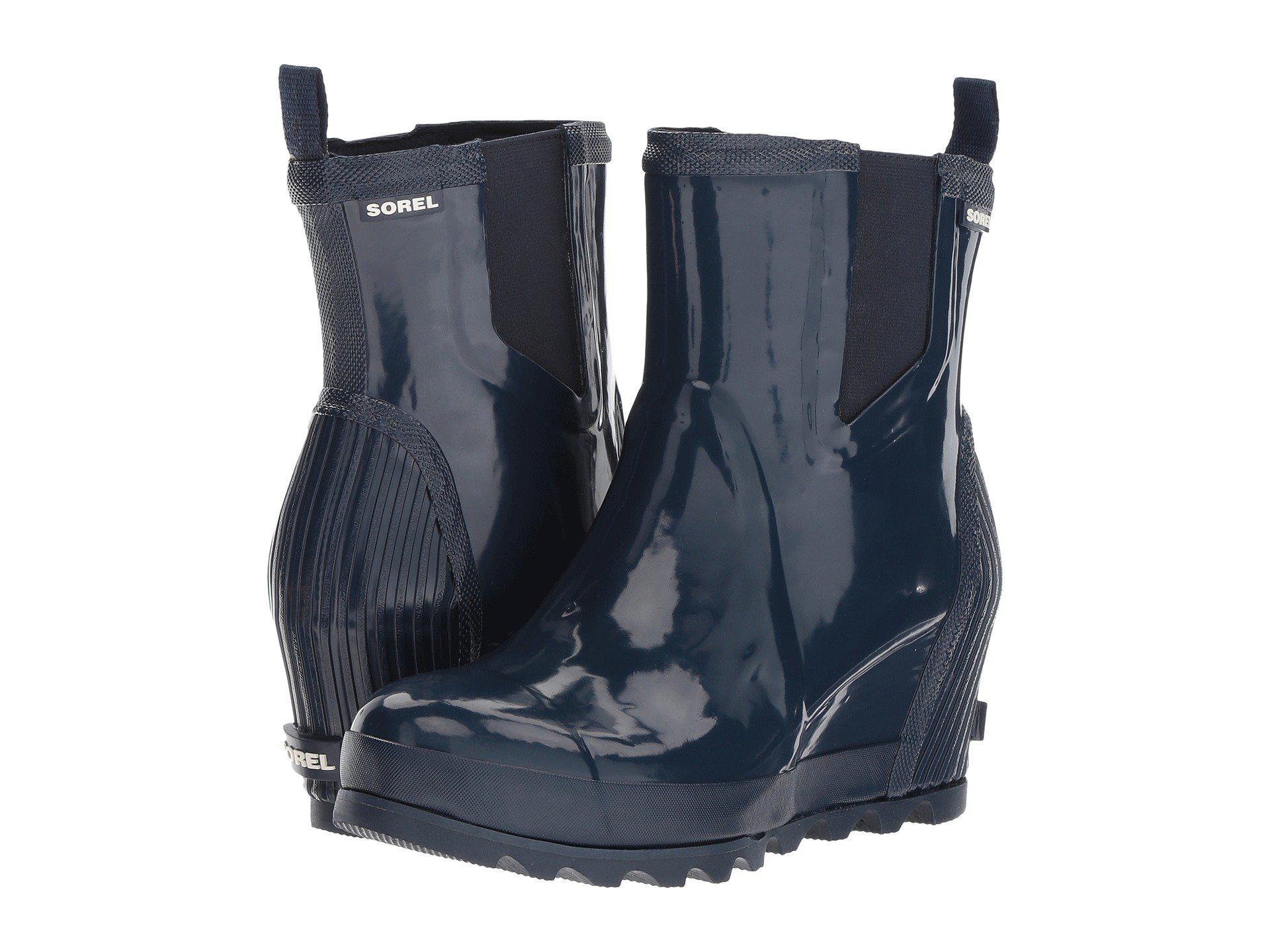 c0a51867f99 Lyst - Sorel Joan Rain Wedge Chelsea Gloss in Blue