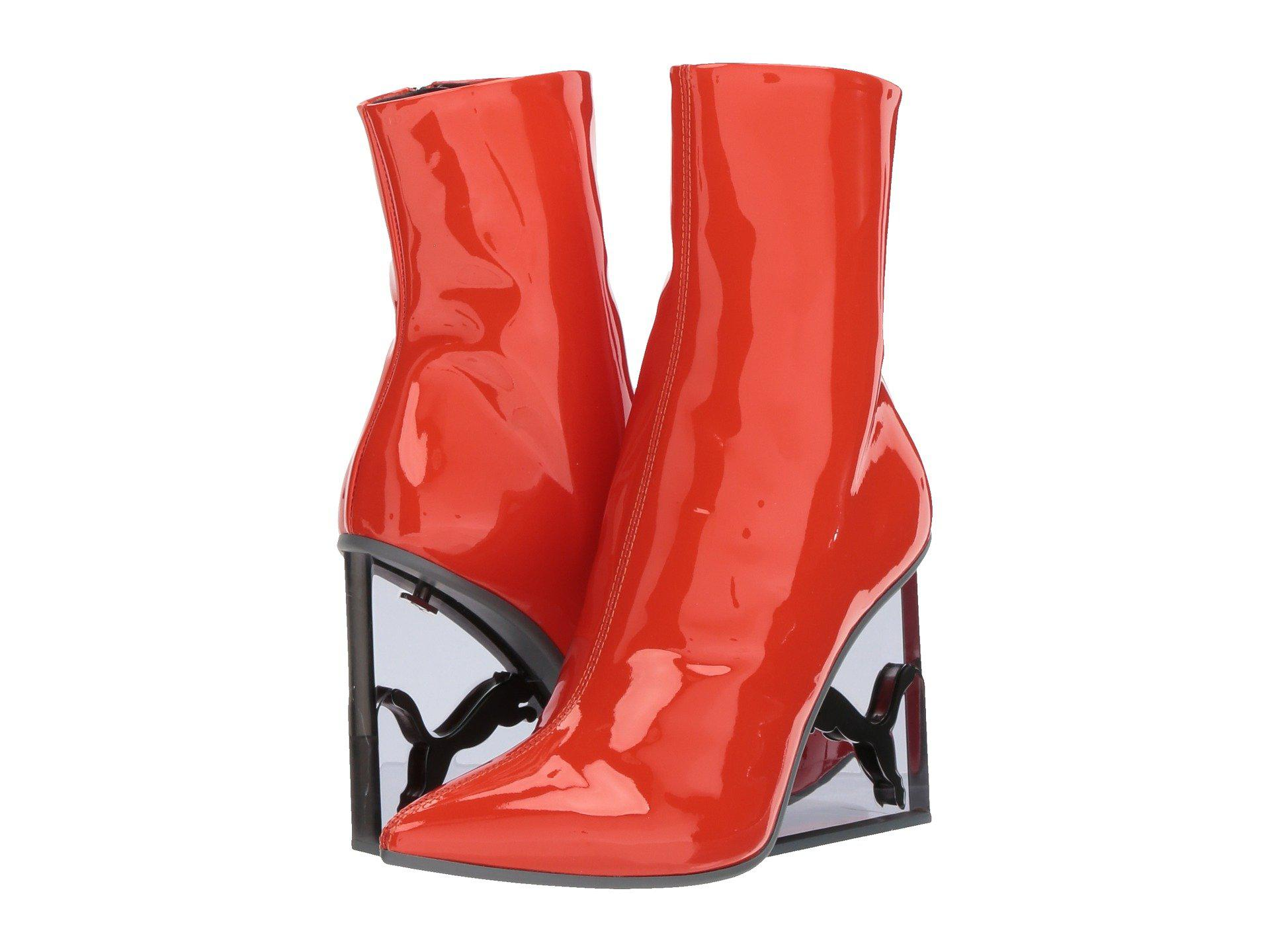2b6c5d1f9395 Lyst - PUMA X Fenty By Rihanna Cat Patent Leather Wedge Boot in Red