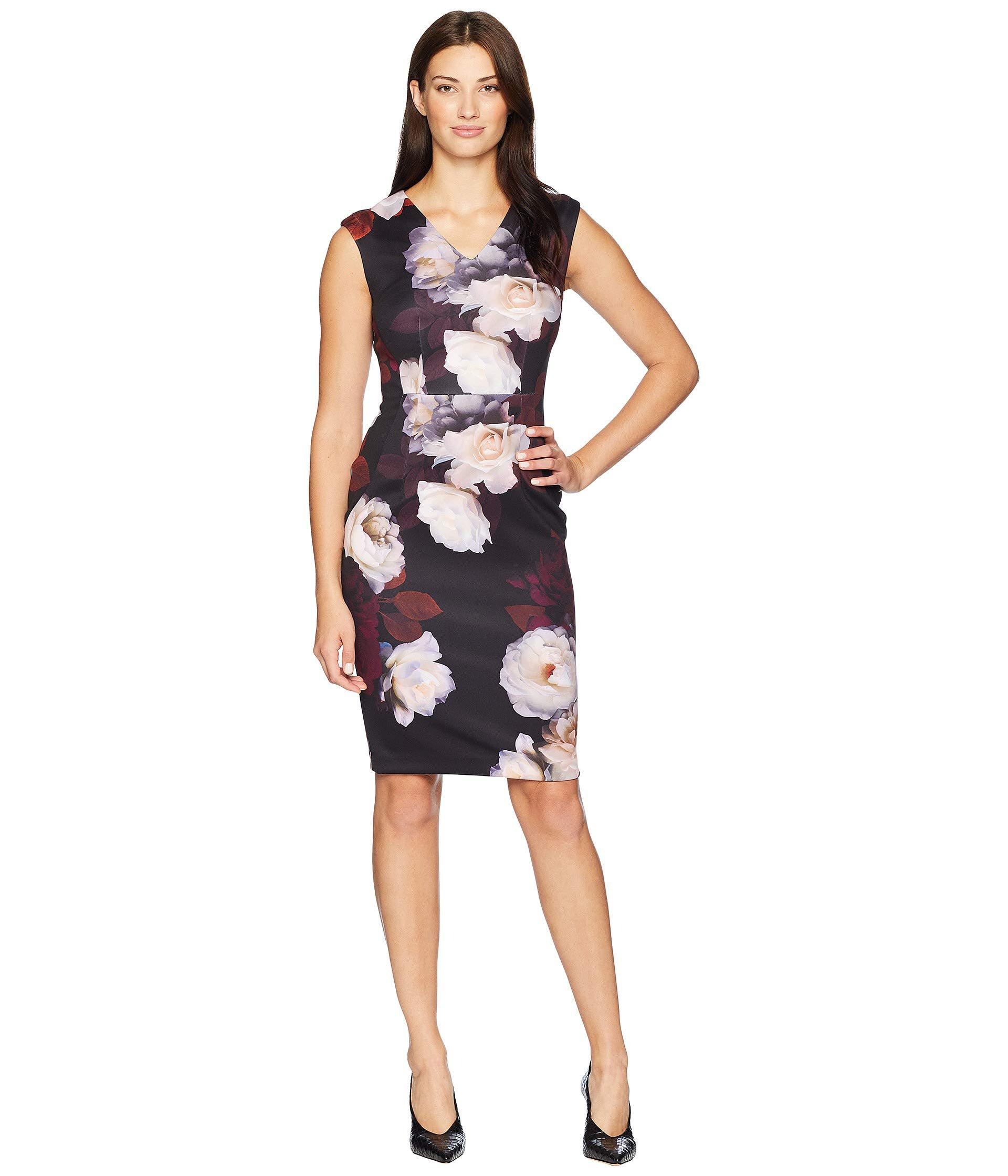 25a74f7438aff Calvin Klein. Women s Floral V-neck Sheath Dress Cd8m38av