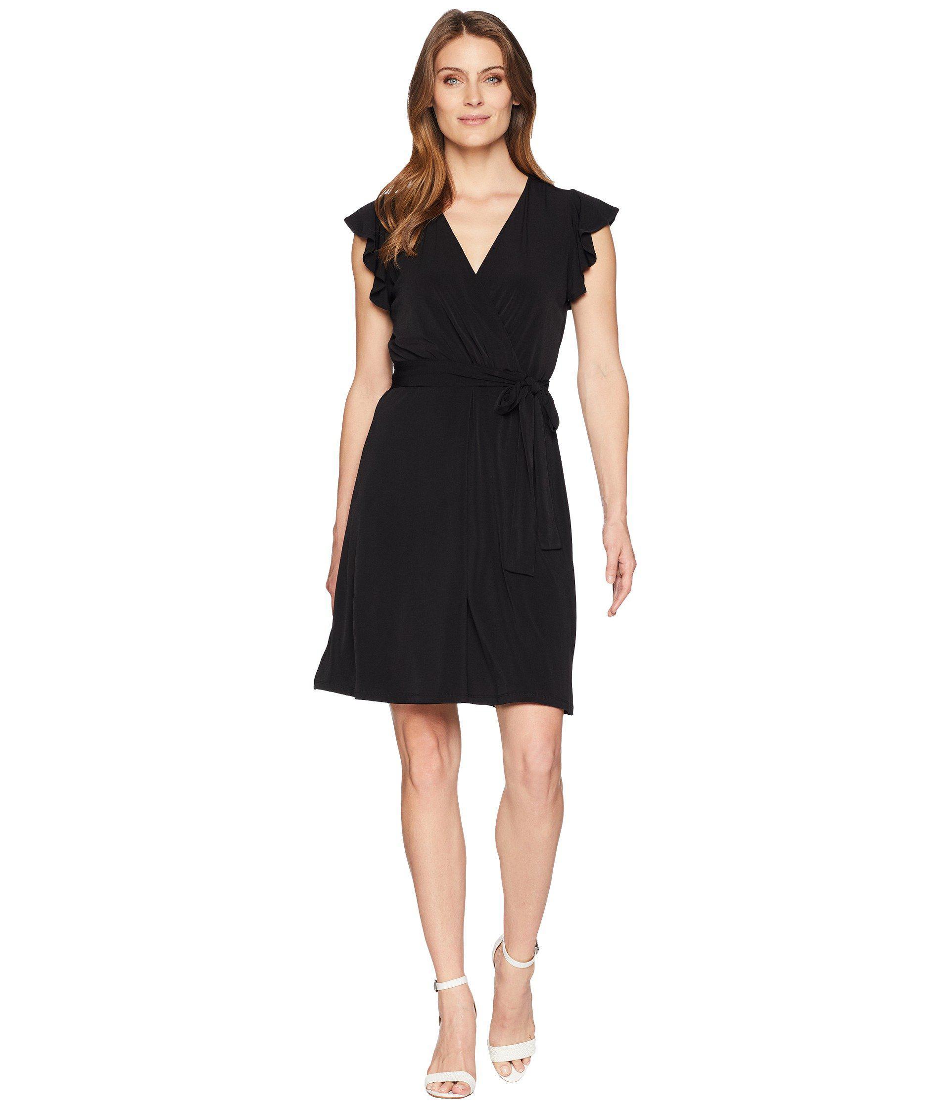 7aecade7fd00 Lyst - Ivanka Trump Flutter Short Sleeve Wrap Dress in Black - Save 66%