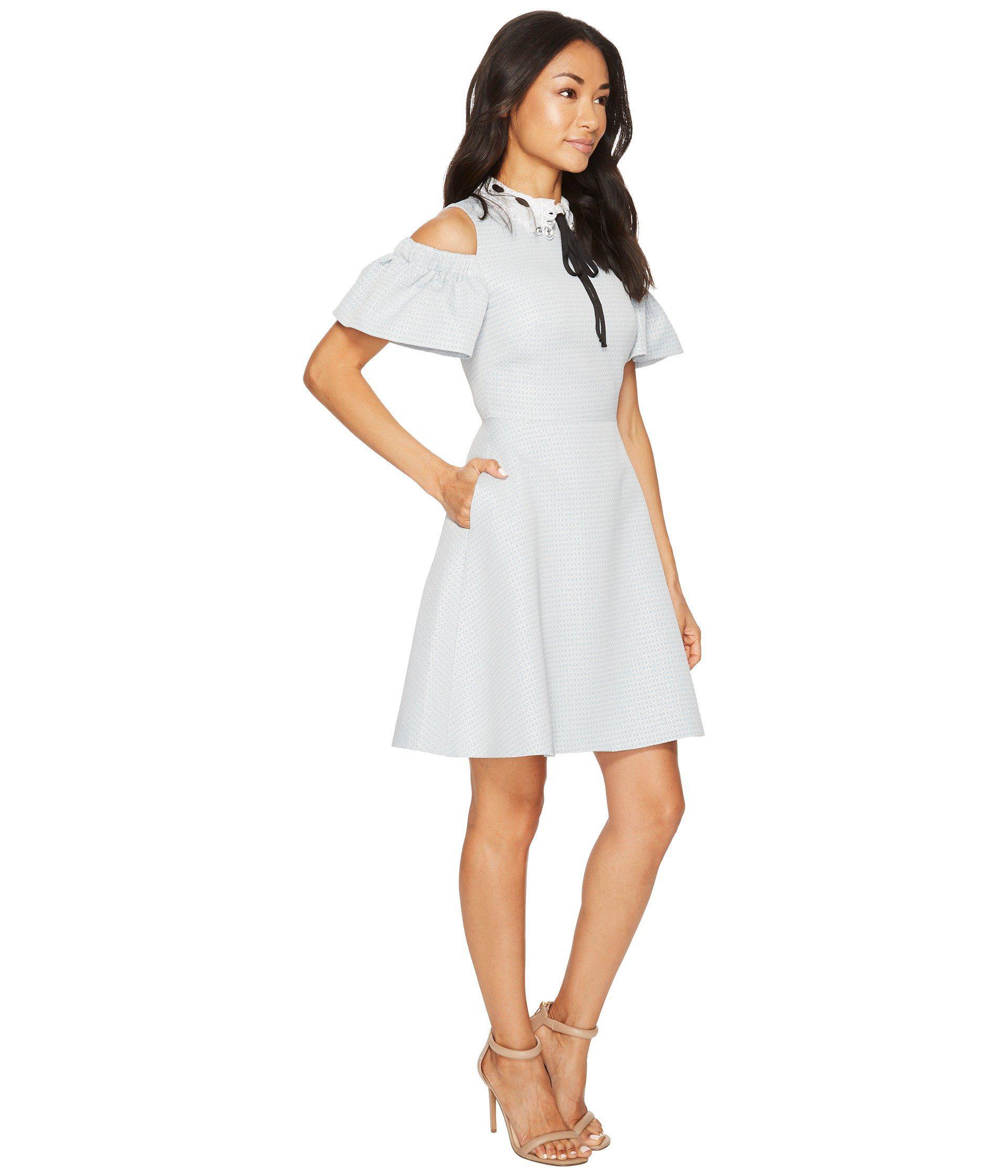 76cbb81d9 Lyst - Ted Baker Araye Cold Shoulder Collar Skater Dress in White