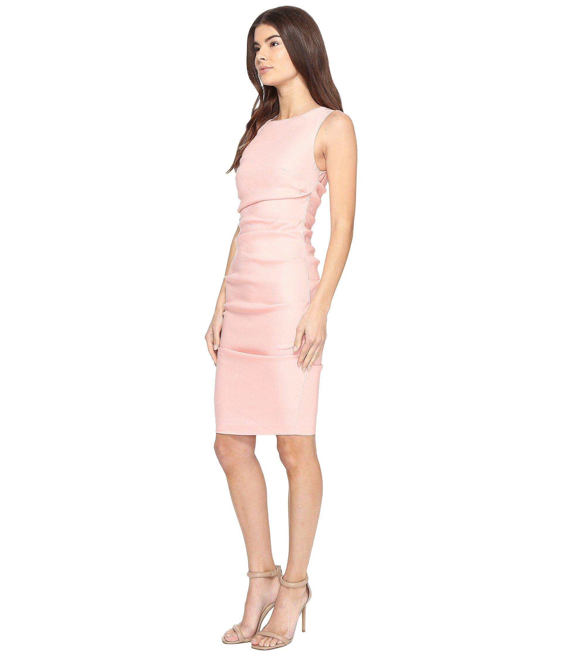 b9784cf987 Lyst - Nicole Miller Lauren Stretch Linen Dress in Pink