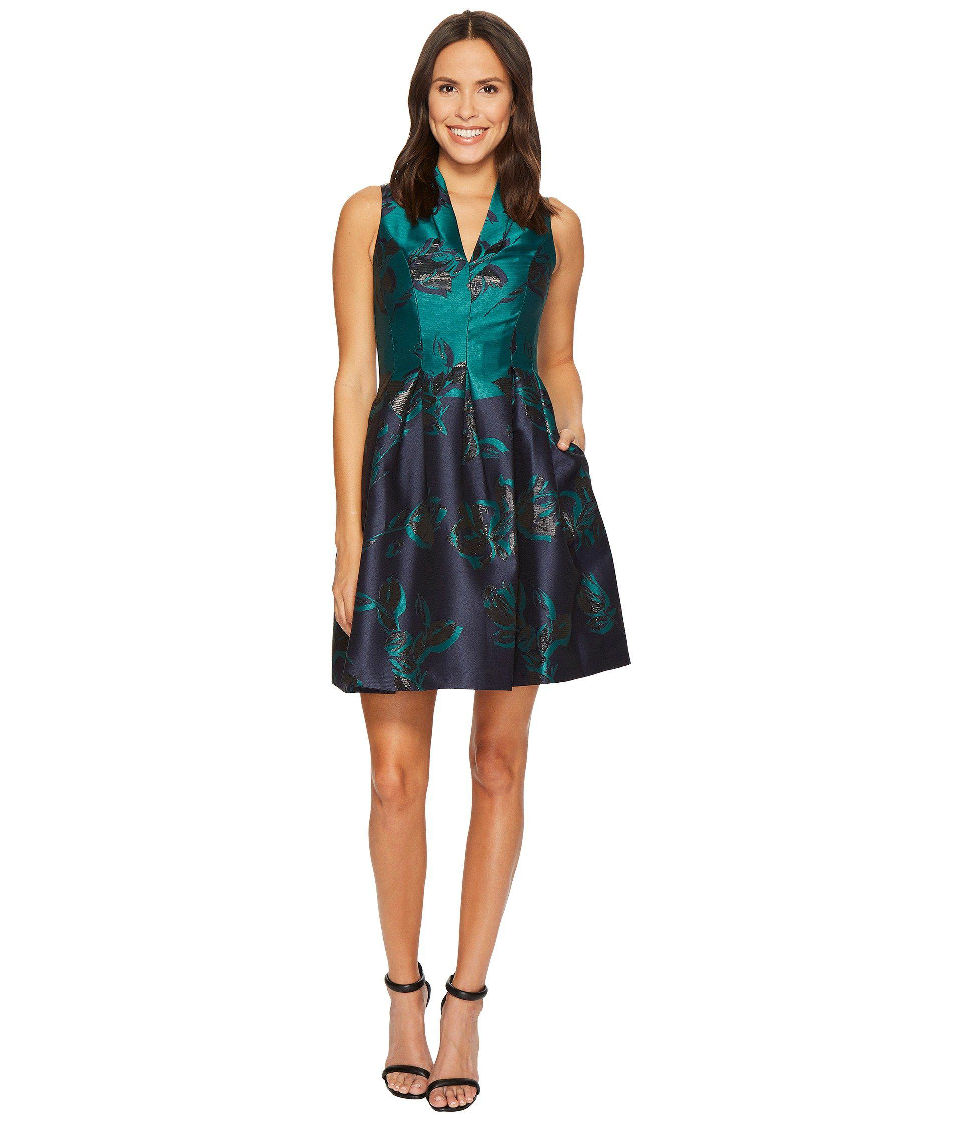 9f4513e5aaff Vince Camuto Jacquard Funnel V-neck Fit And Flare Dress in Blue - Lyst