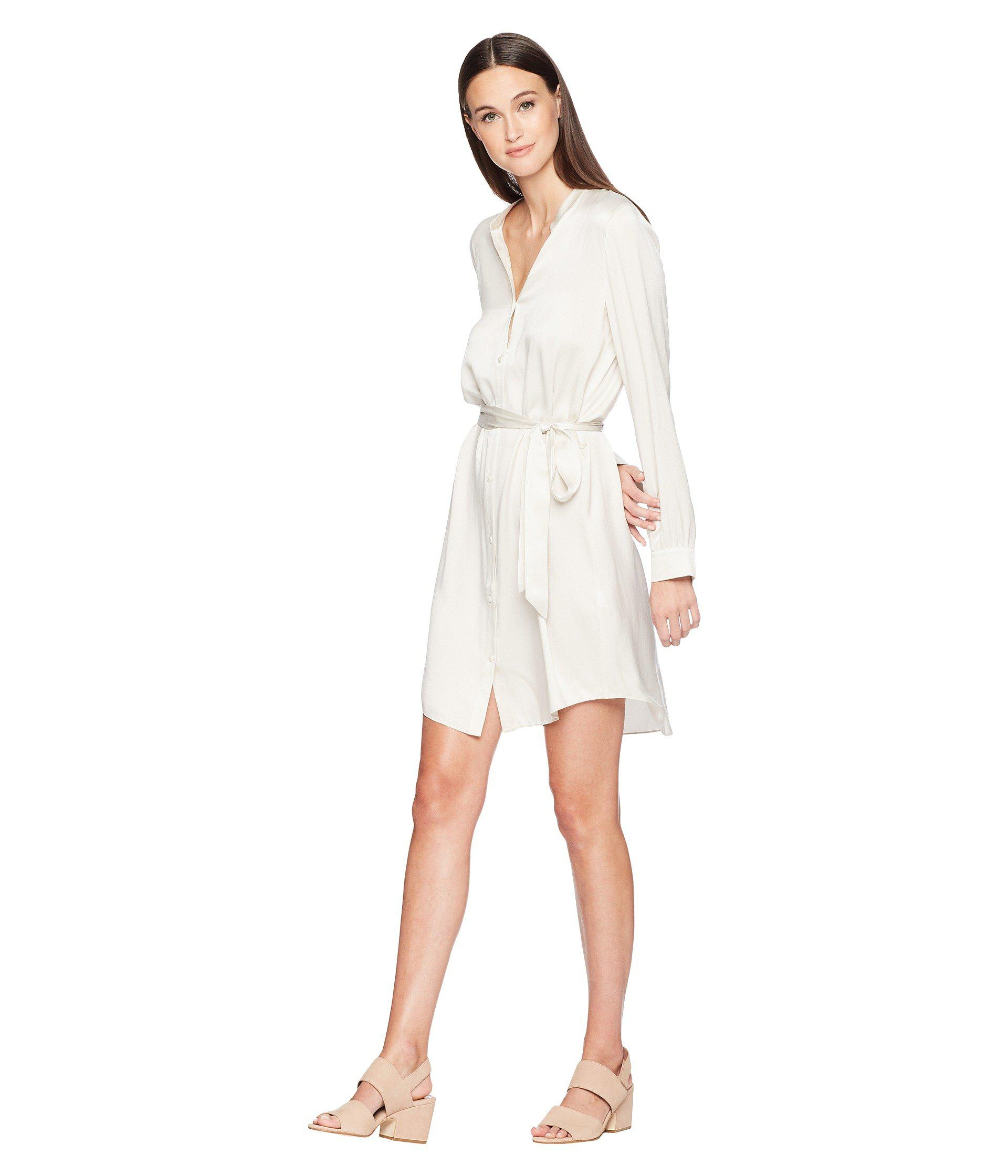 cbe13582a8df2 Eileen Fisher - White Silk Charmeuse Shirt Dress. - Lyst. View fullscreen