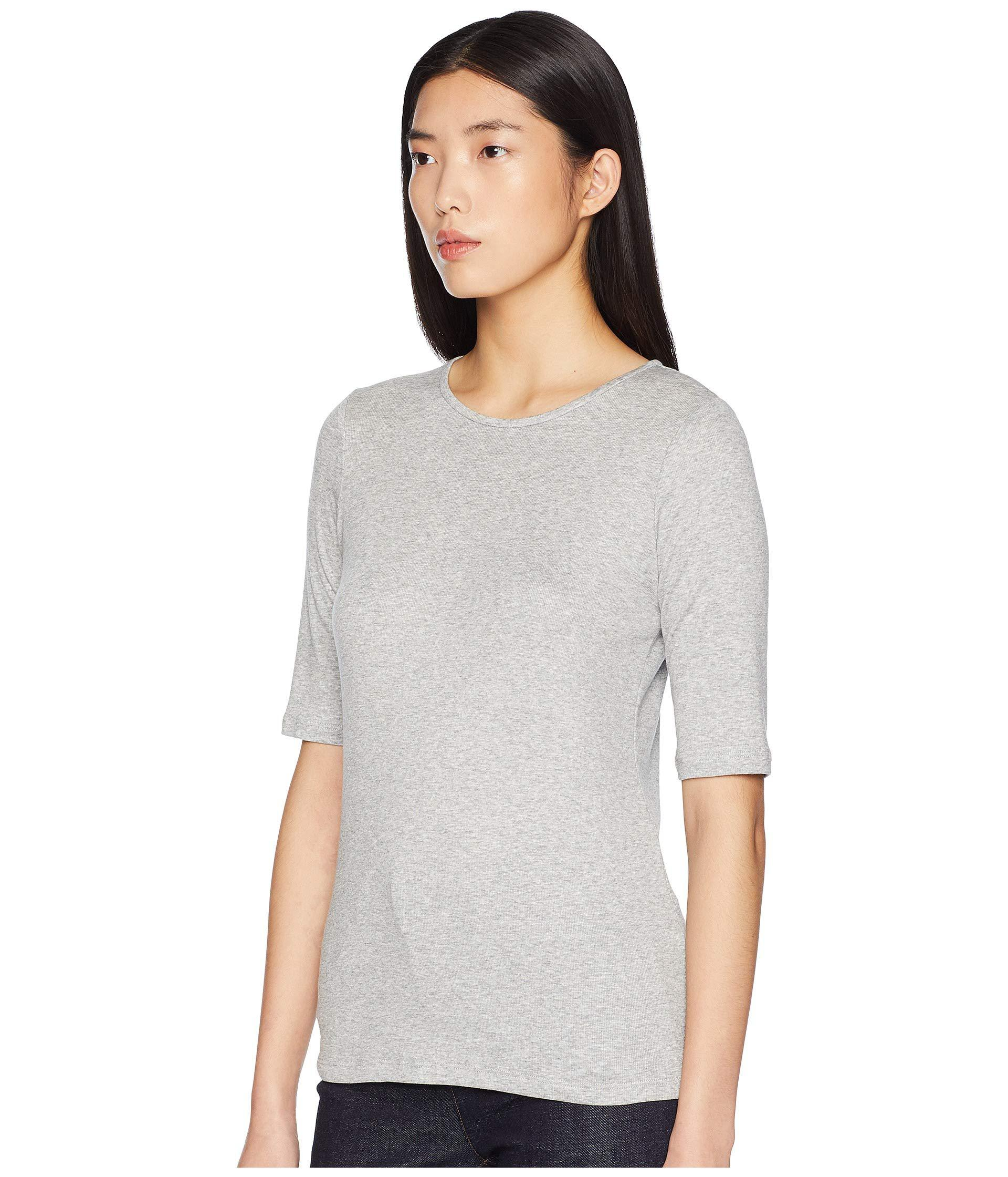 eb62e3bd1318f7 Lyst - Eileen Fisher Jewel Neck Elbow Sleeve Long Top in Gray