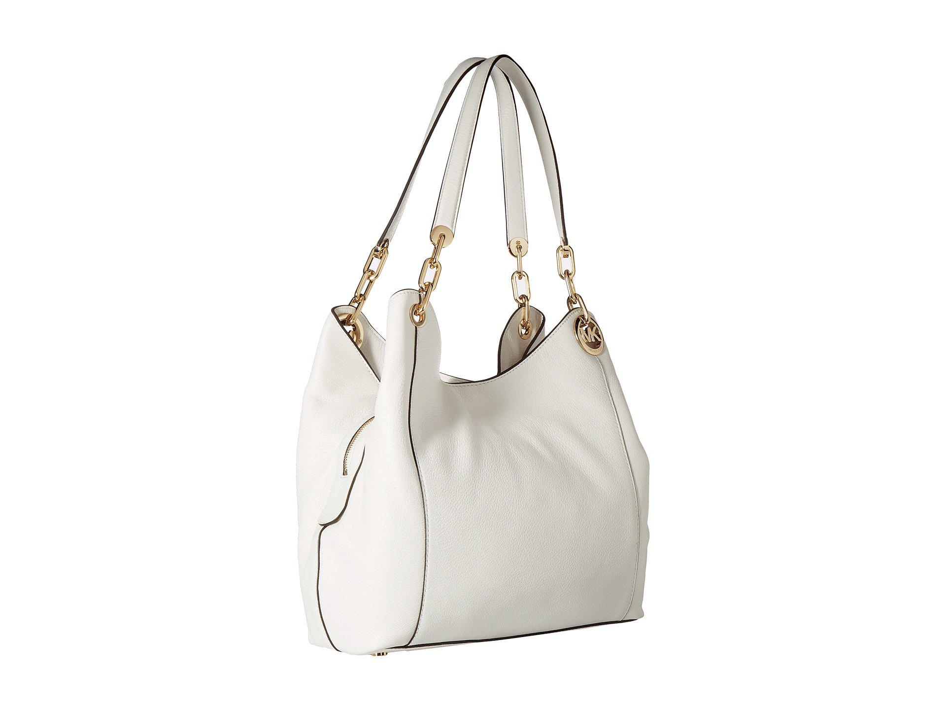 43d318ca81 Lyst - MICHAEL Michael Kors Fulton Large Charm Shoulder Tote in White