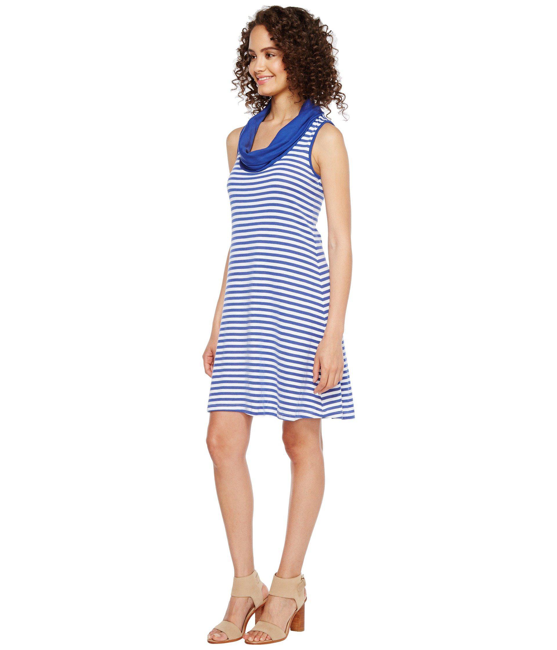 fa31b8aa656 Lyst - Three Dots Mykonos Stripes Cowl Neck Dress in Blue