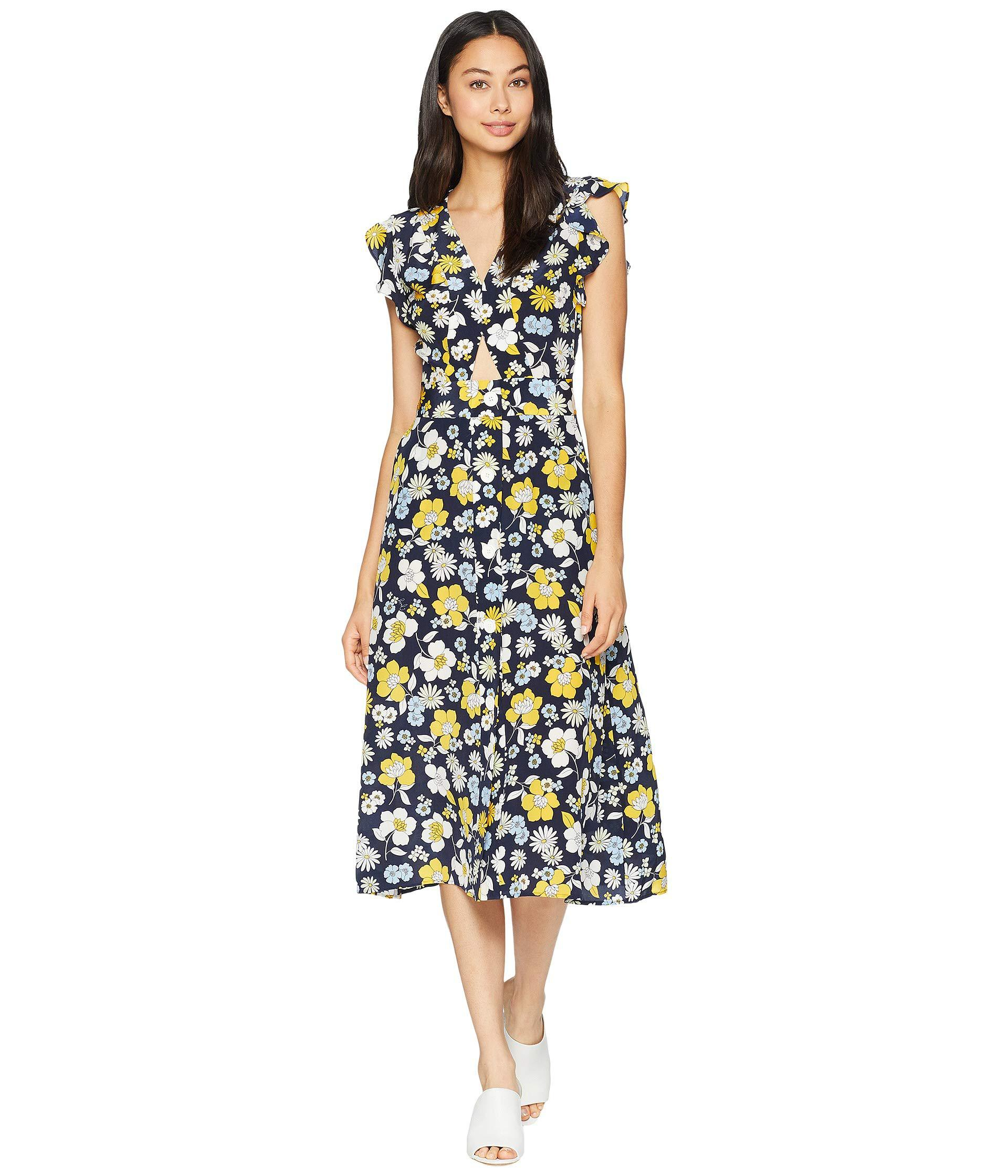 b84b369af03a Juicy Couture - Multicolor Silk Garden Floral Midi Dress - Lyst. View  fullscreen