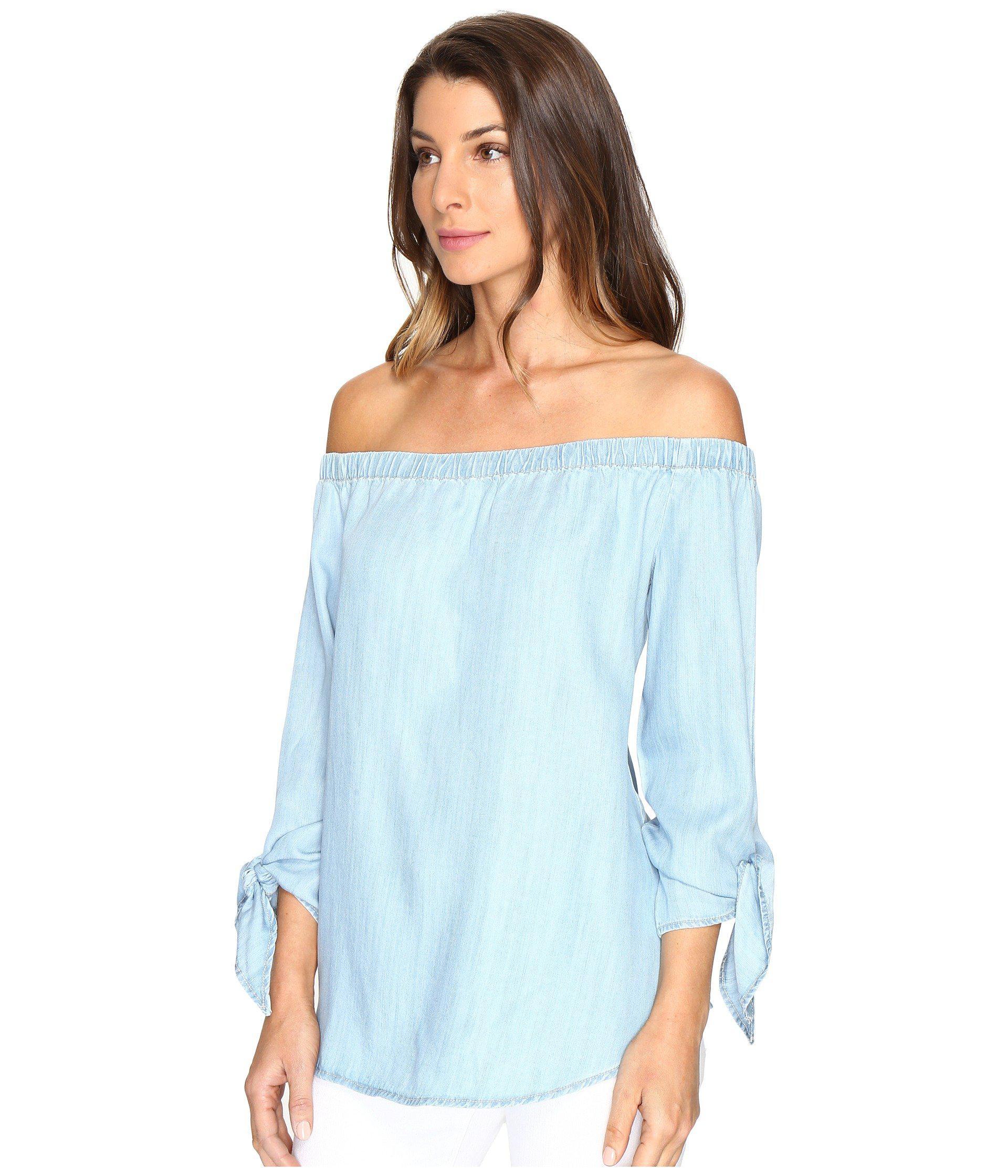 b0fd5761d492d7 Lyst - Karen Kane Tie-sleeve Off The Shoulder Top in Blue - Save 35%