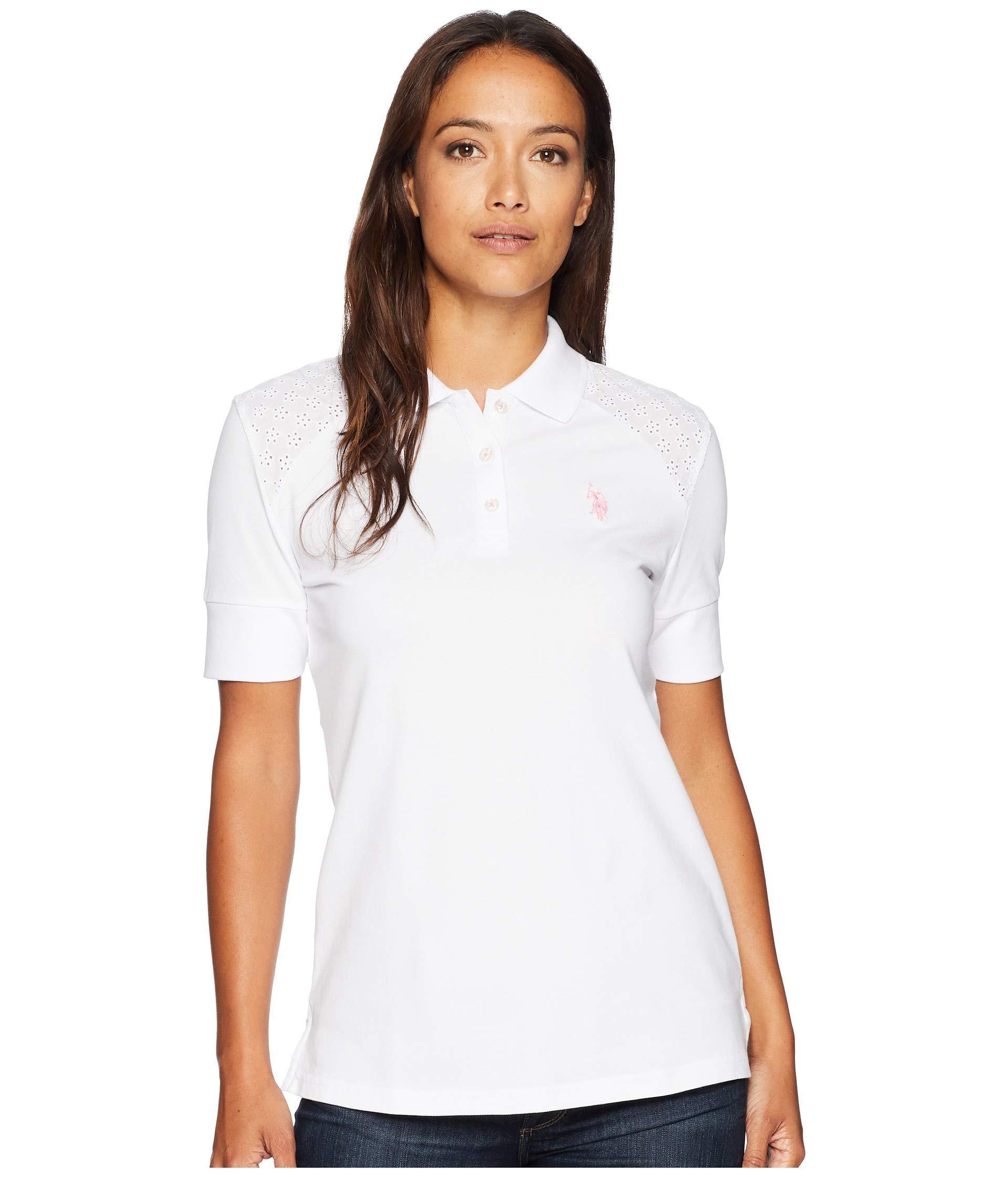 3fbf5527116fa U.S. POLO ASSN. Women s White Short Sleeve Lace Yoke Solid Stretch Pique Polo  Shirt