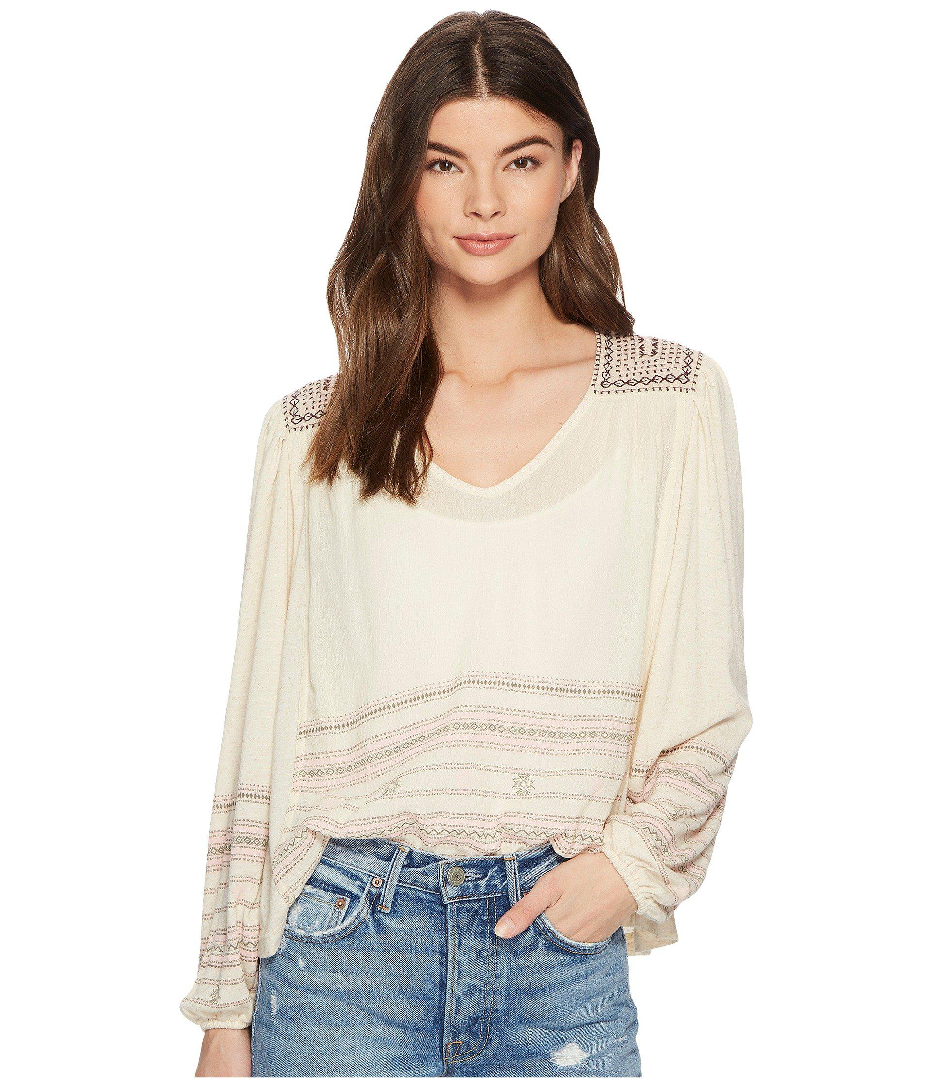 ed61e76581bd3 Lyst - Lucky Brand Market Embroidered Peasant Top in Natural - Save 12%