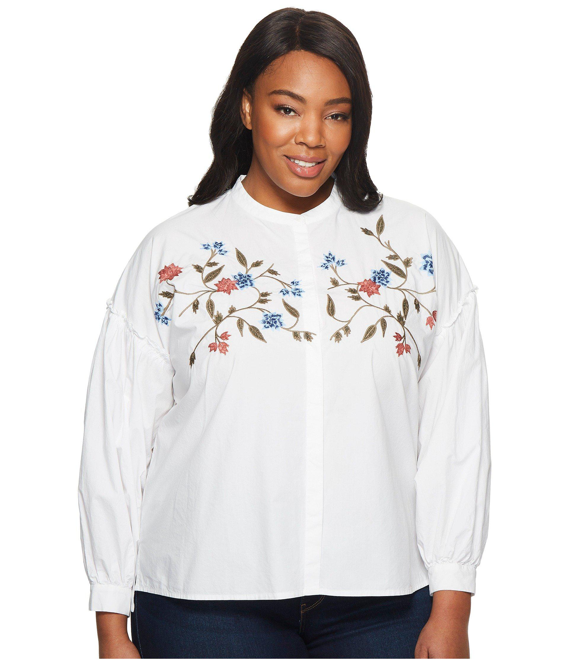 51285bd85b Two By Vince Camuto. Women s White Plus Size Long Sleeve Embroidered ...