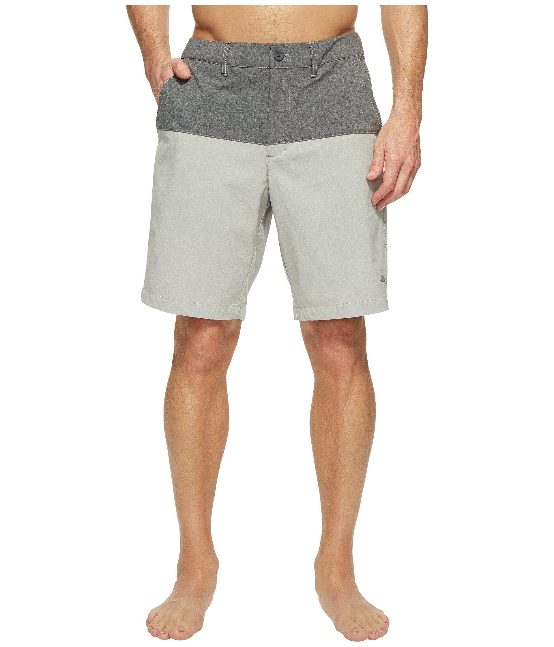 002b7b93fc Lyst - Tommy Bahama Cayman Block And Roll Swim Trunk in Gray for Men ...
