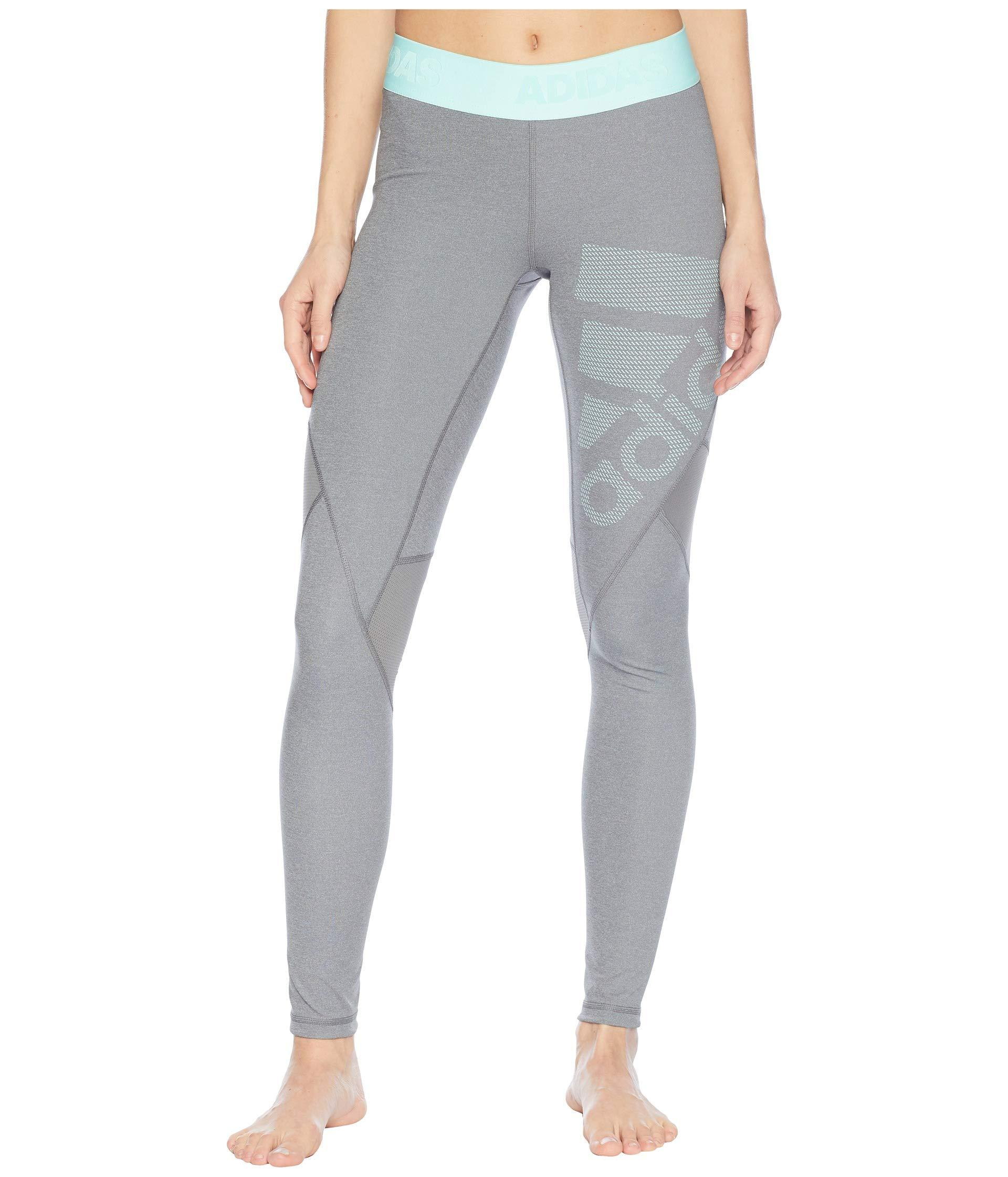 Lyst - adidas Alphaskin Sport Long Logo Tights in Gray 499eea326d3