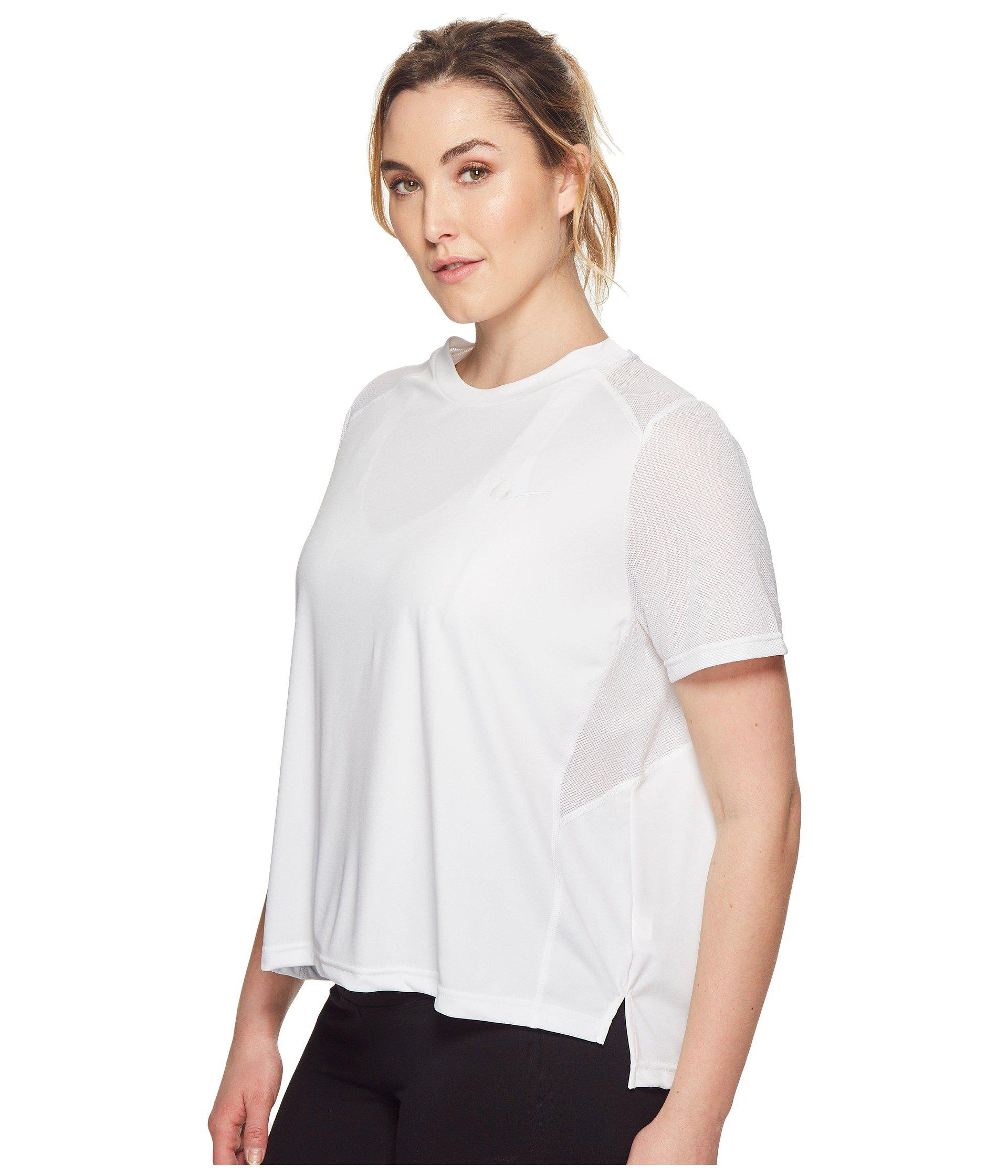 hot sale online eb700 15404 Lyst - Nike Dry Miler Short-sleeve Running Top (sizes 1x-3x) in White -  Save 35%