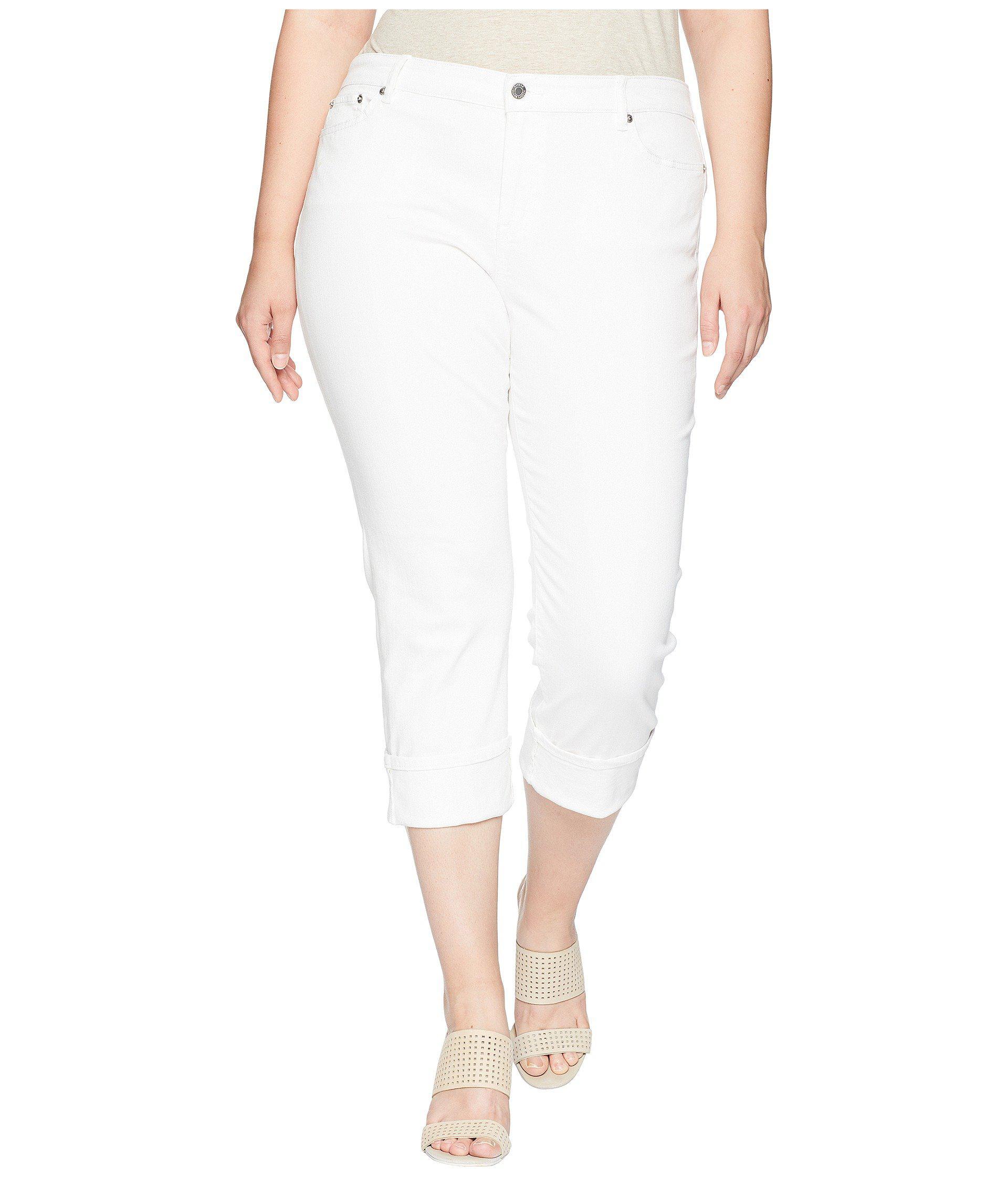 8e0f02087eaf5 Lauren by Ralph Lauren. Women s White Plus Size Premier Straight Crop Jeans