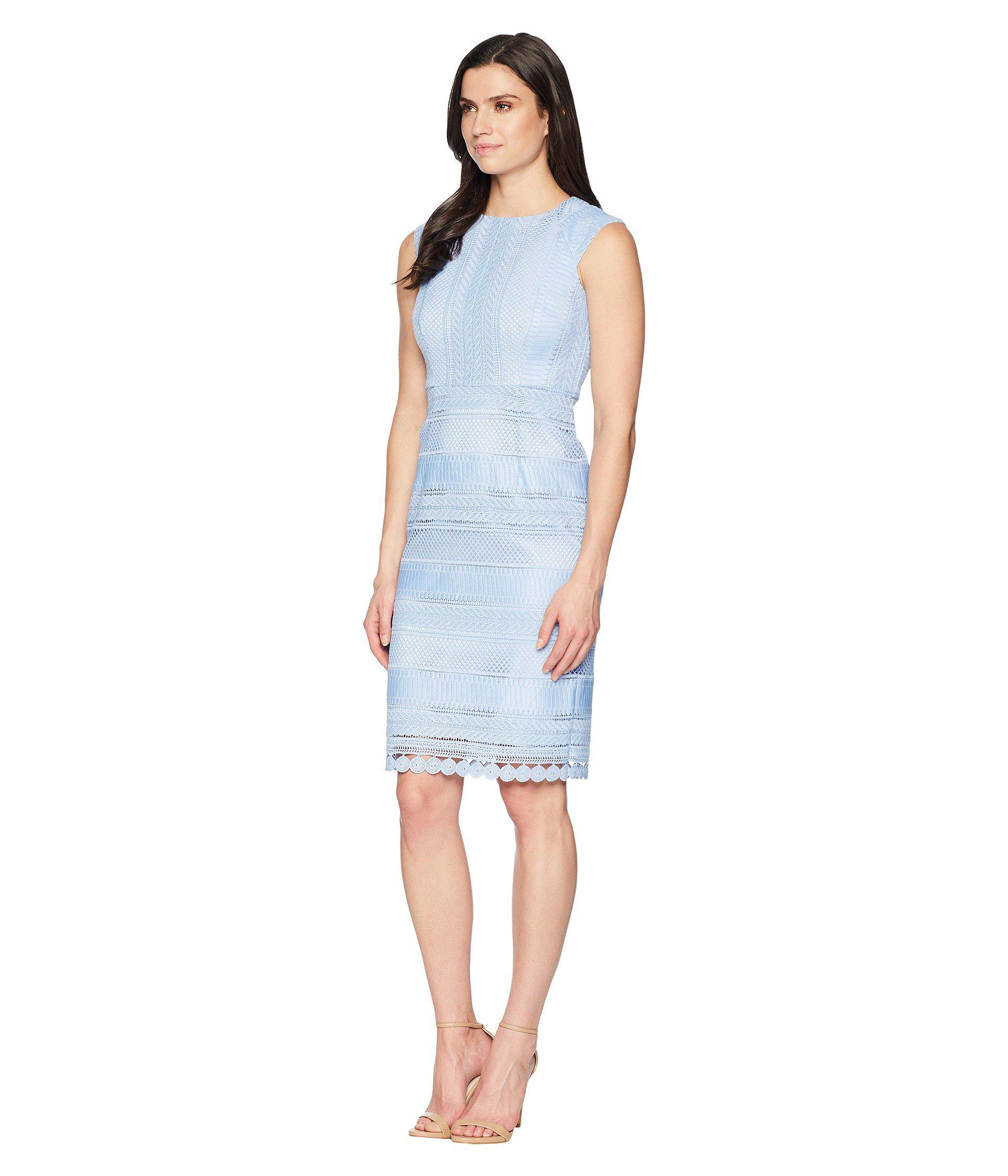 1831c2c8 Lyst - Tahari Fit To Body Chemical Lace Sheath Dress in Blue - Save 32%