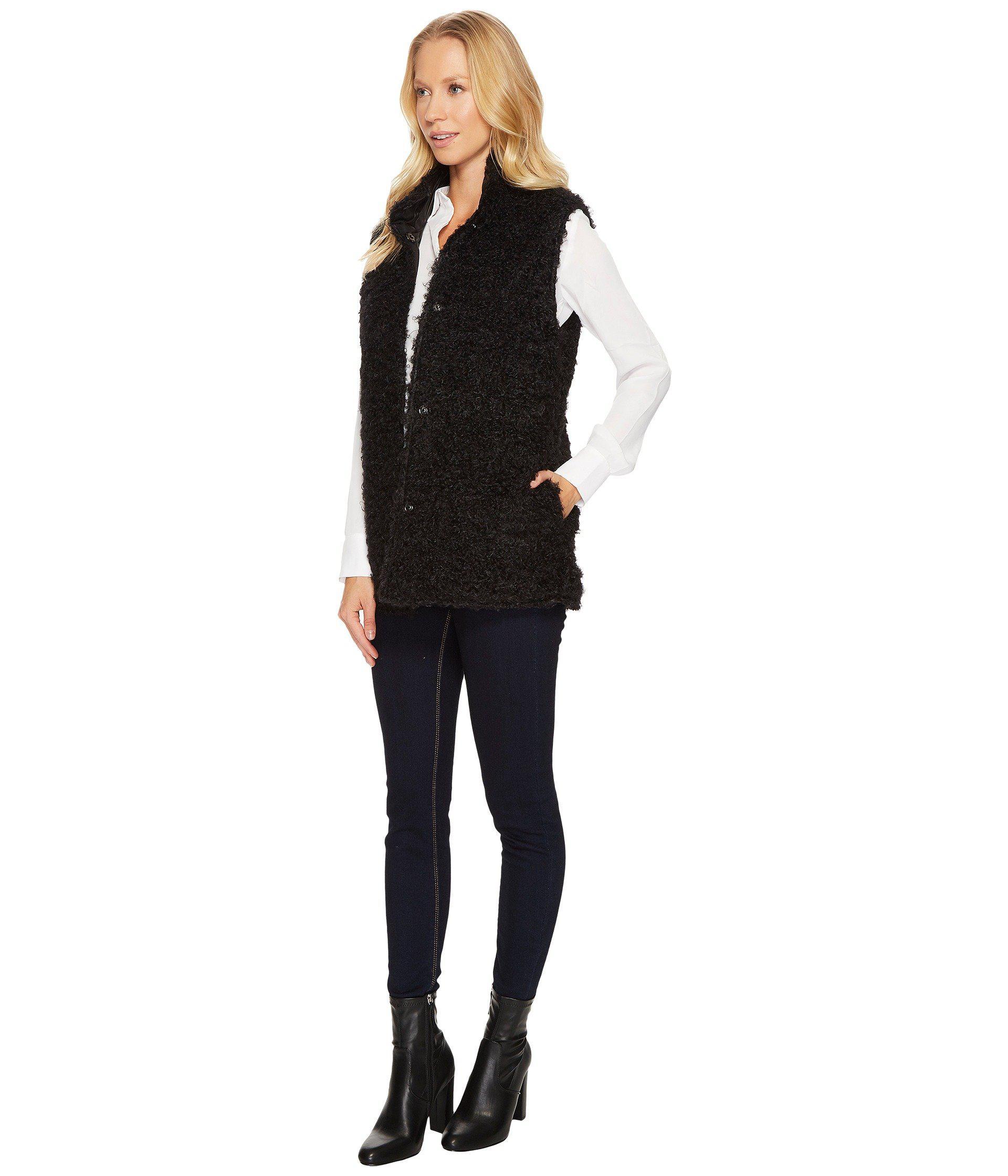 Via Spiga   Black Reversible Curly Faux-fur Vest   Lyst. View Fullscreen