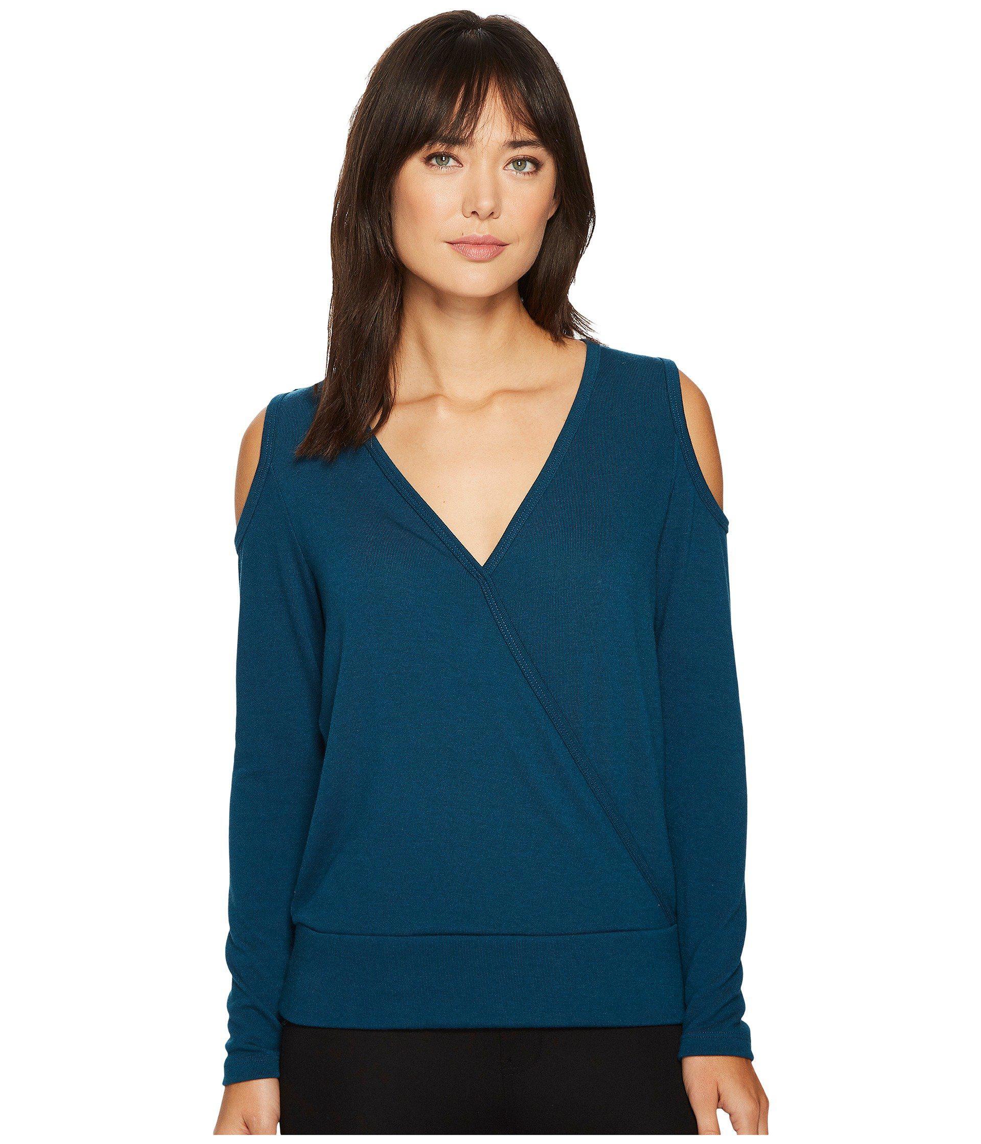 0674776e8f28d Lyst - Karen Kane Cold Shoulder Crossover Top in Blue - Save 63%