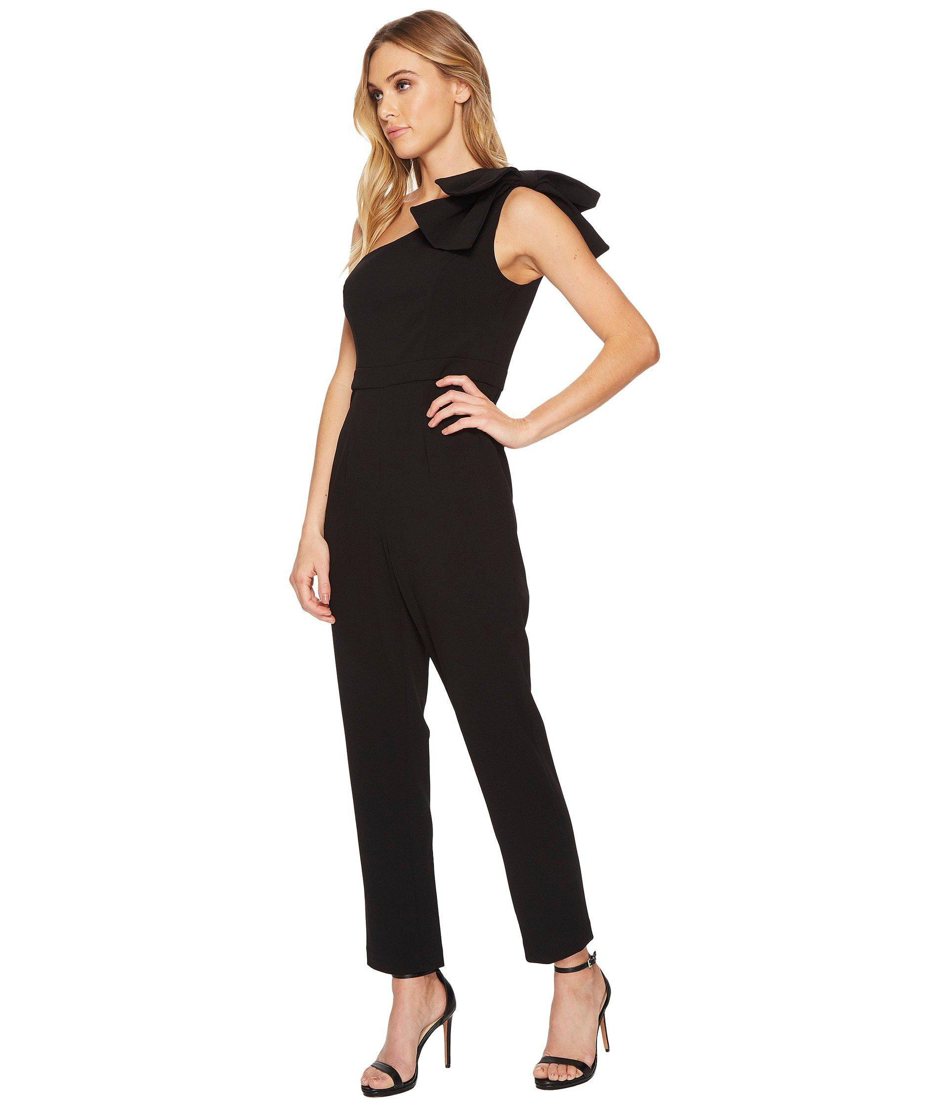 ebf2ae67a25 Lyst - Adrianna Papell One Shoulder Jumpsuit With Bow Detail in Black
