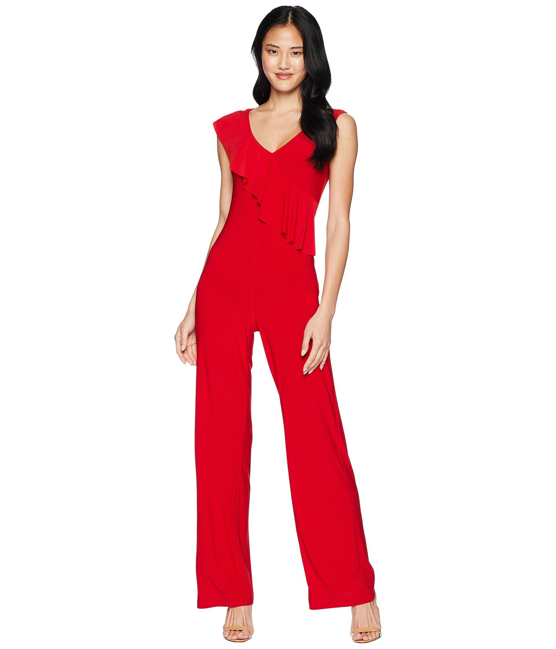 ebb4145621d Lyst - Bebe Asymmetrical Ruffle Jumpsuit in Red - Save 26%