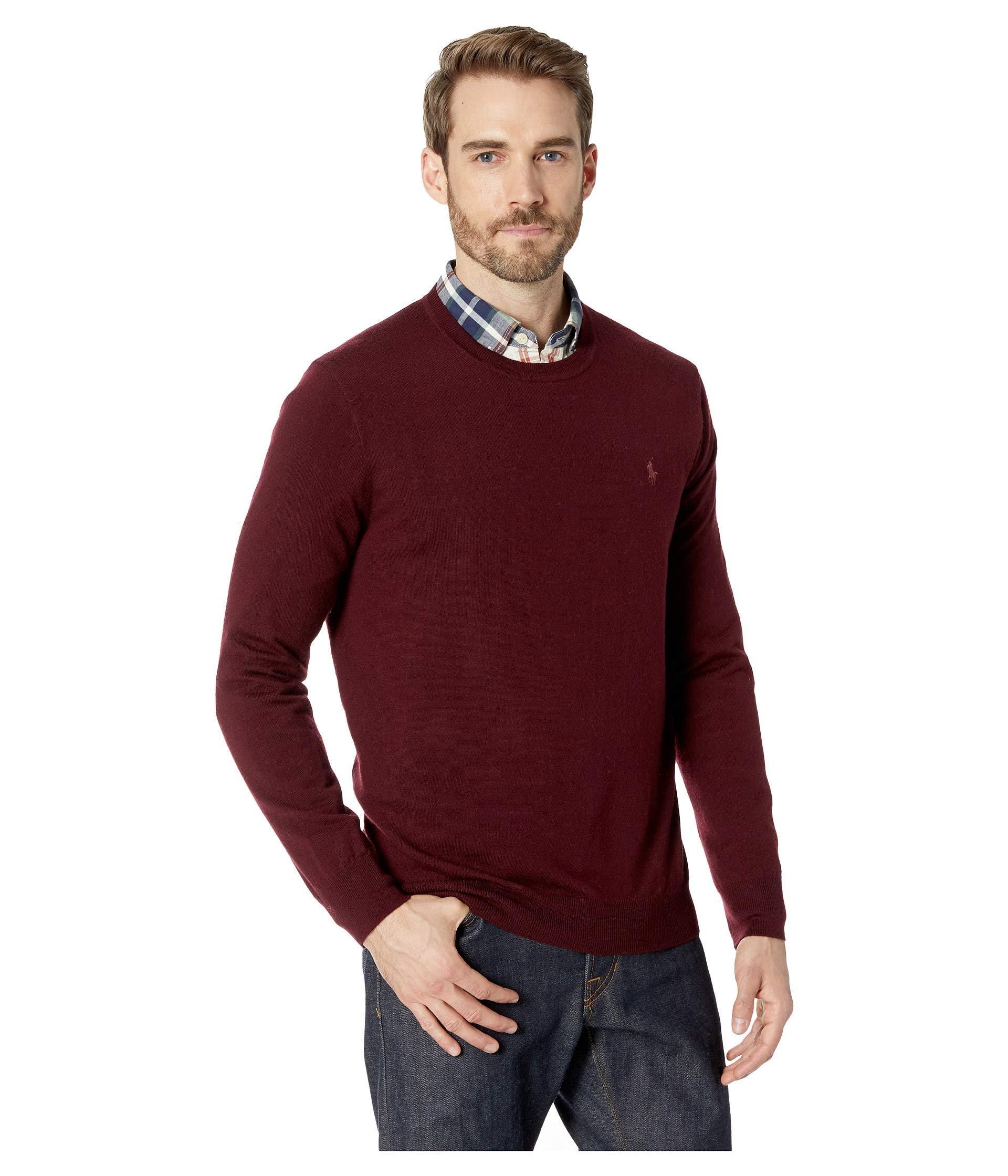 dd60422ff05ac Lyst - Polo Ralph Lauren Washable Merino Crew Neck Sweater in Red ...
