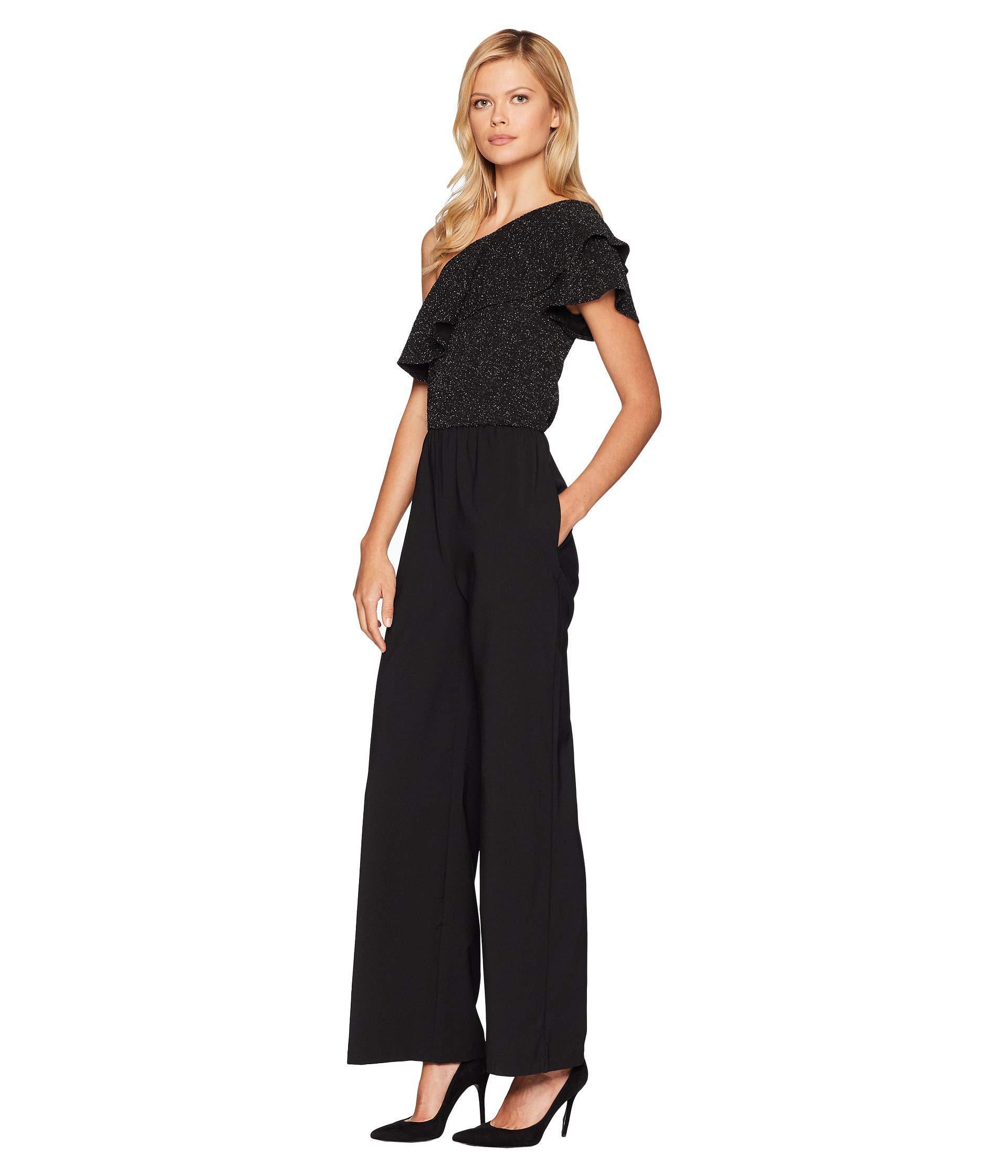af8cfd8dec21 Lyst - Eci One Shoulder Metallic Bodice Knit Jumpsuit in Black